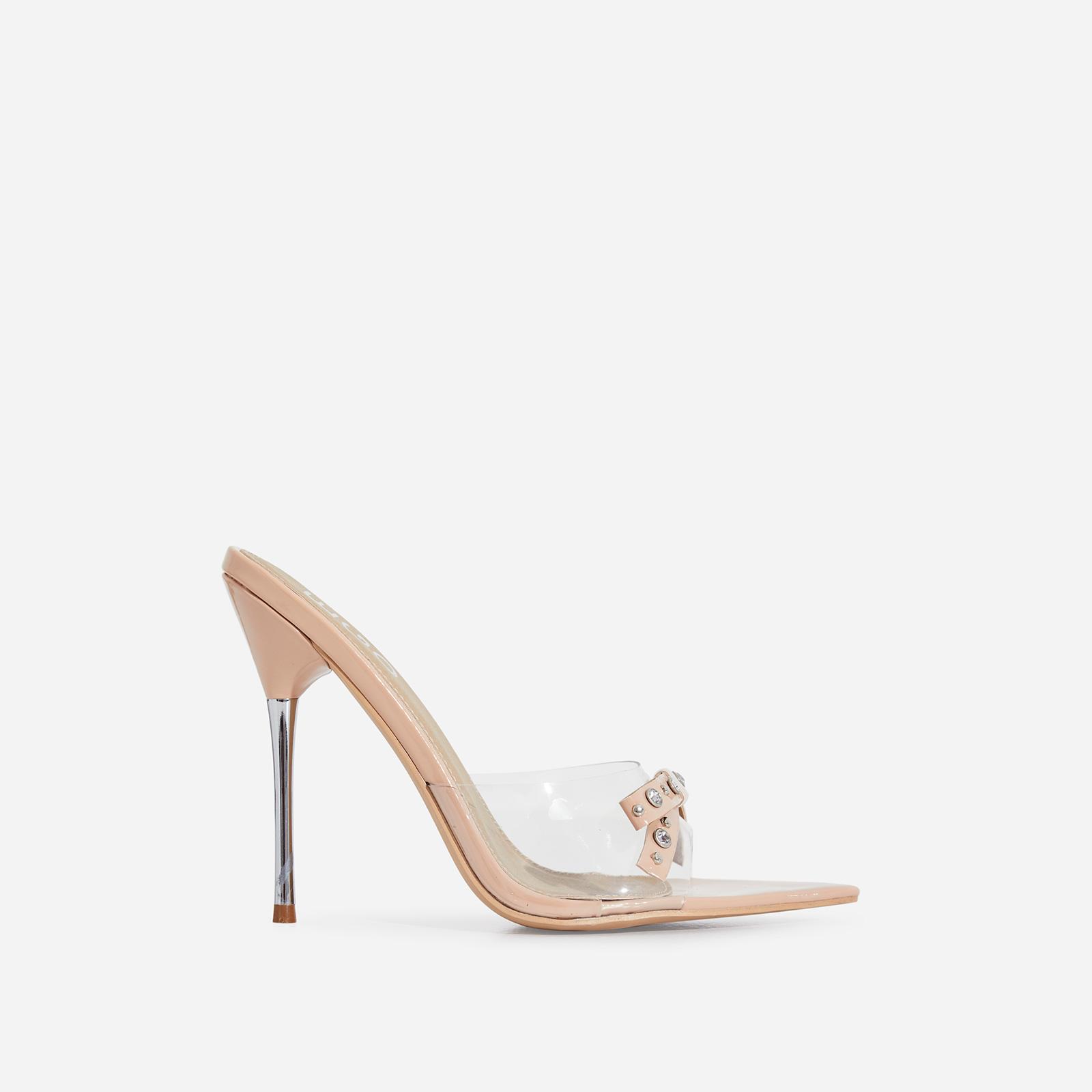 Gabb Studded Bow Detail Perspex Peep Toe Heel Mule In Nude Patent