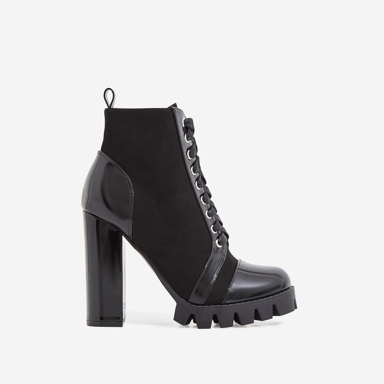 Urban Lace Up Cleated Sole Ankle Boot In Black Faux Suede And Faux Leather