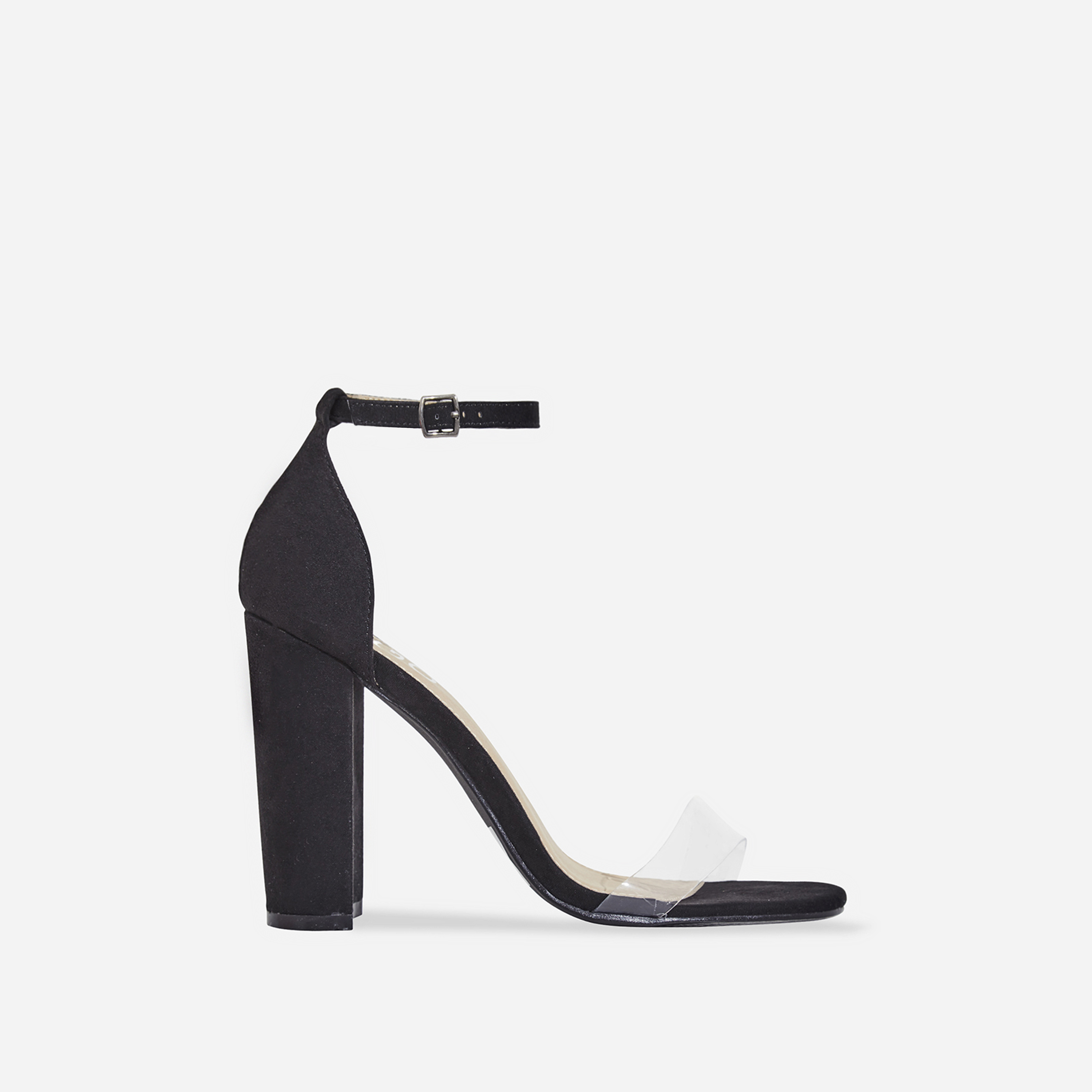 Sara Perspex Block Heel In Black Faux Suede