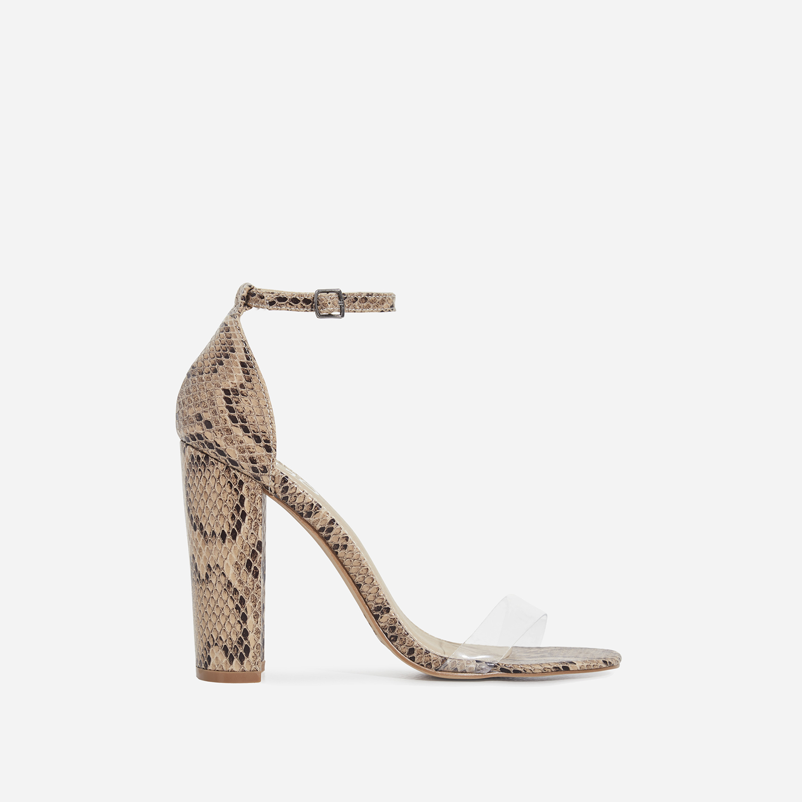 Sara Perspex Block Heel In Nude Snake Print Faux Leather