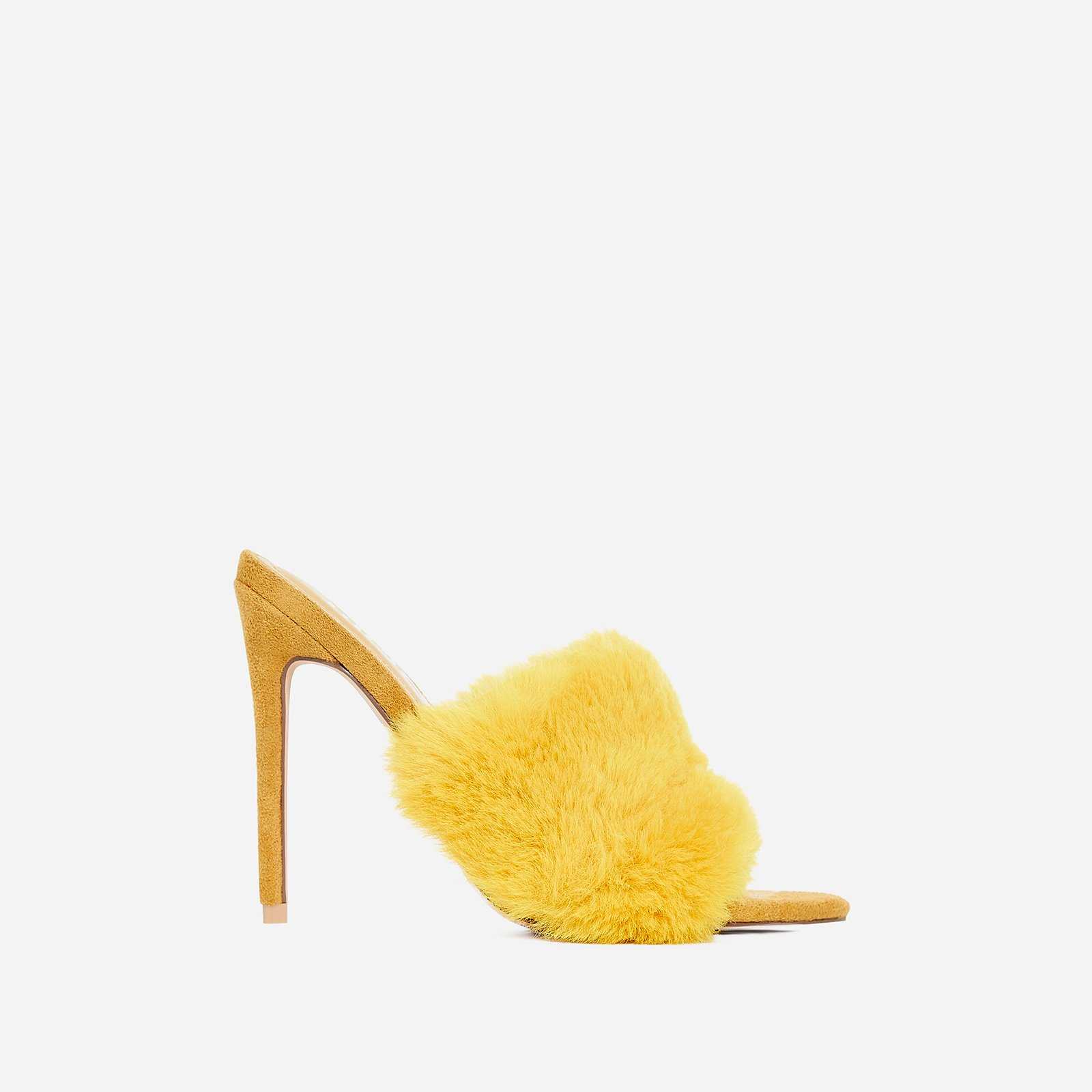 Savage Faux Fur Heel Mule In Yellow Faux Suede