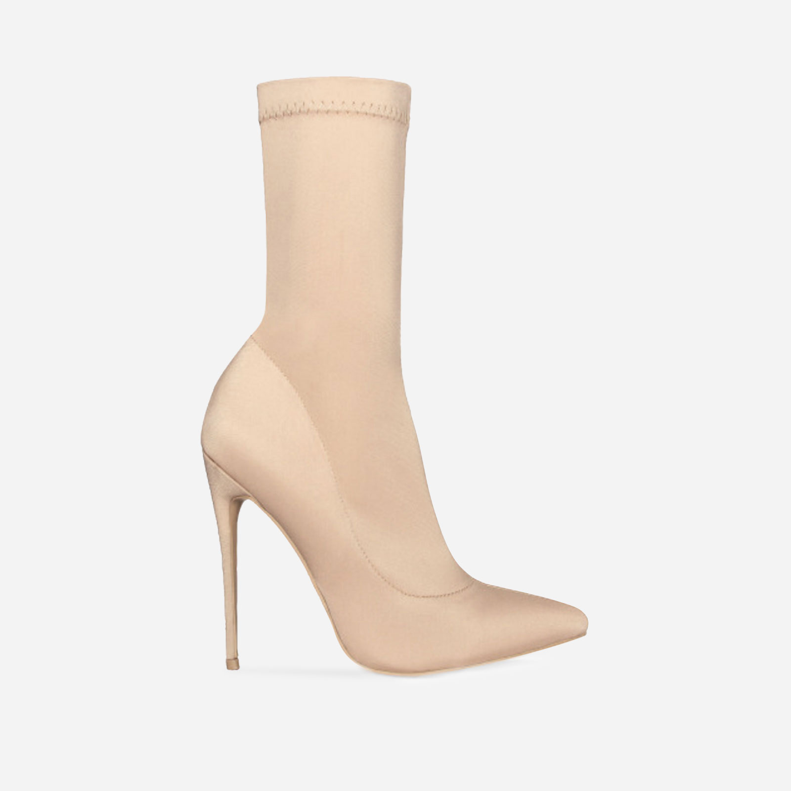 Fiona Pointed Toe Ankle Boot In Nude Lycra Image 1