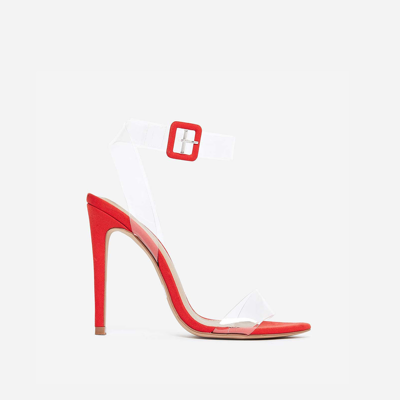 Neda Barely There Perspex Heel In Red Faux Suede