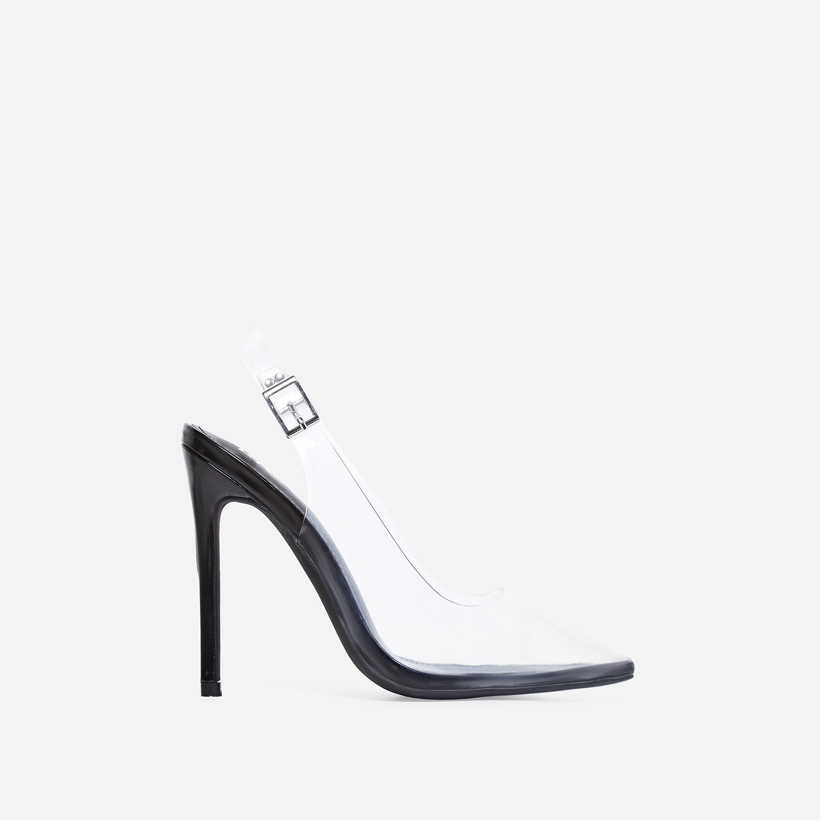 Seamless Perspex Heel In Black Patent