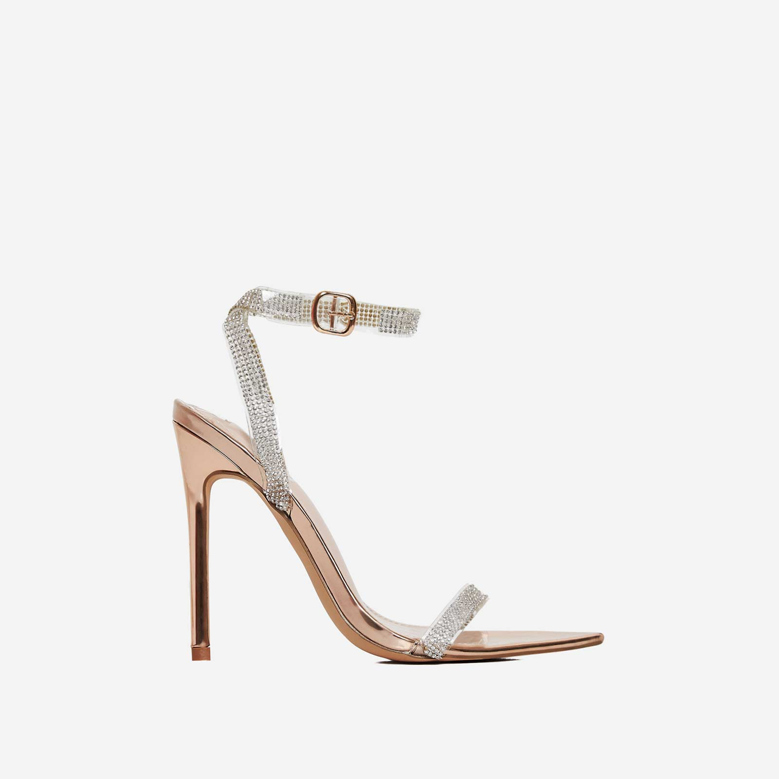 String Diamante Pointed Toe Heel In Rose Gold Faux Leather