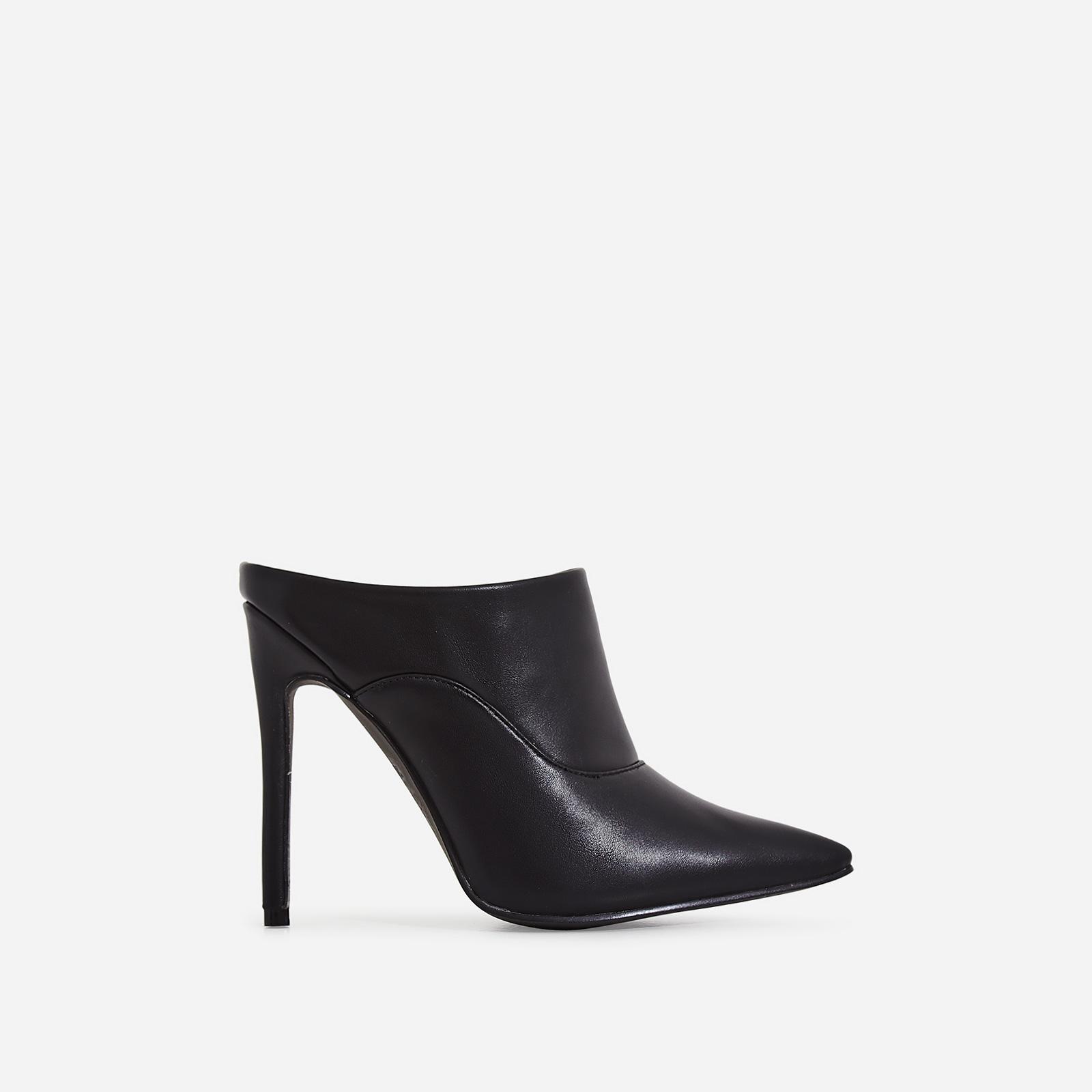 Sheena Pointed Toe Heel Mule In Black Faux Leather