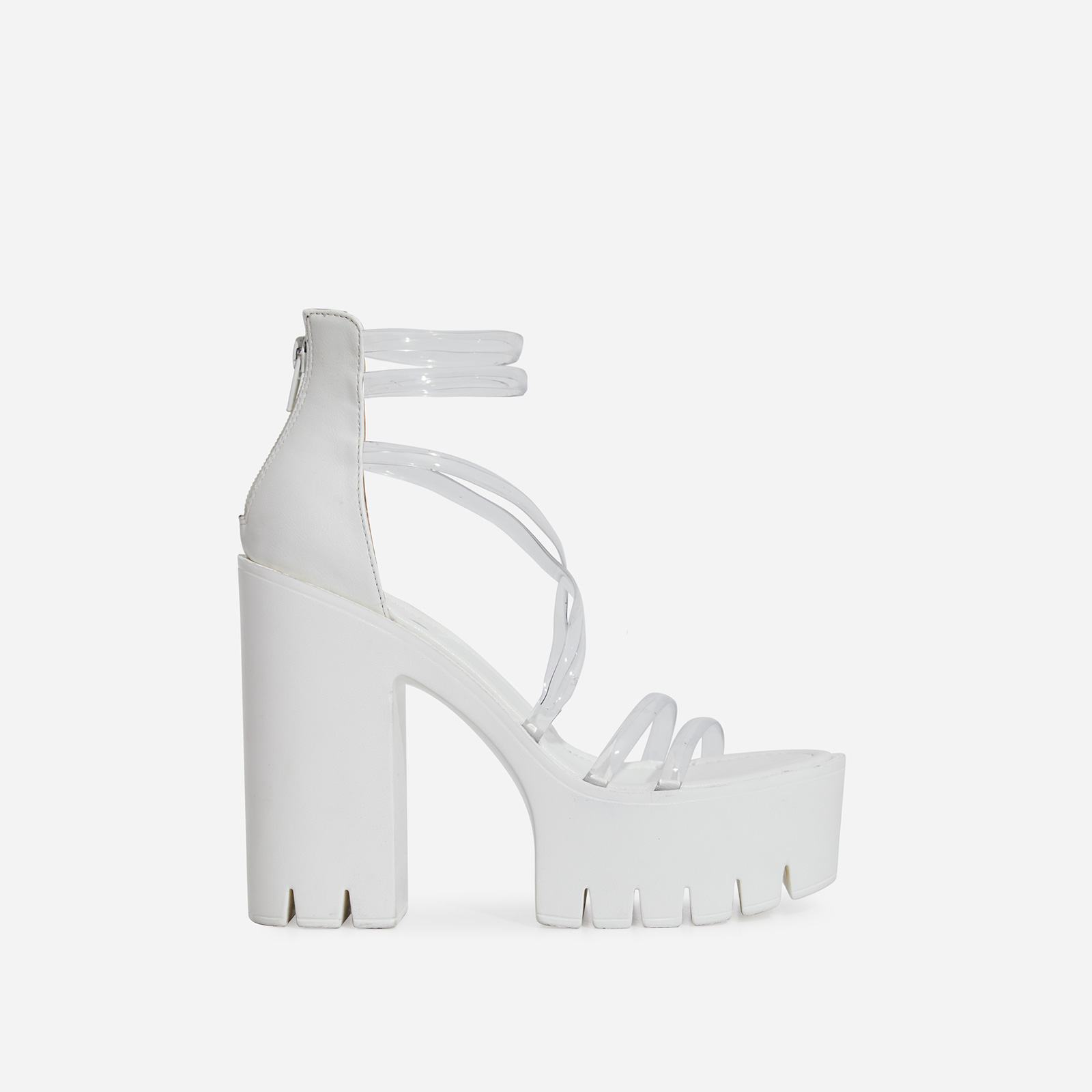 Shiloh Perspex Platform Block Heel In White Faux Leather