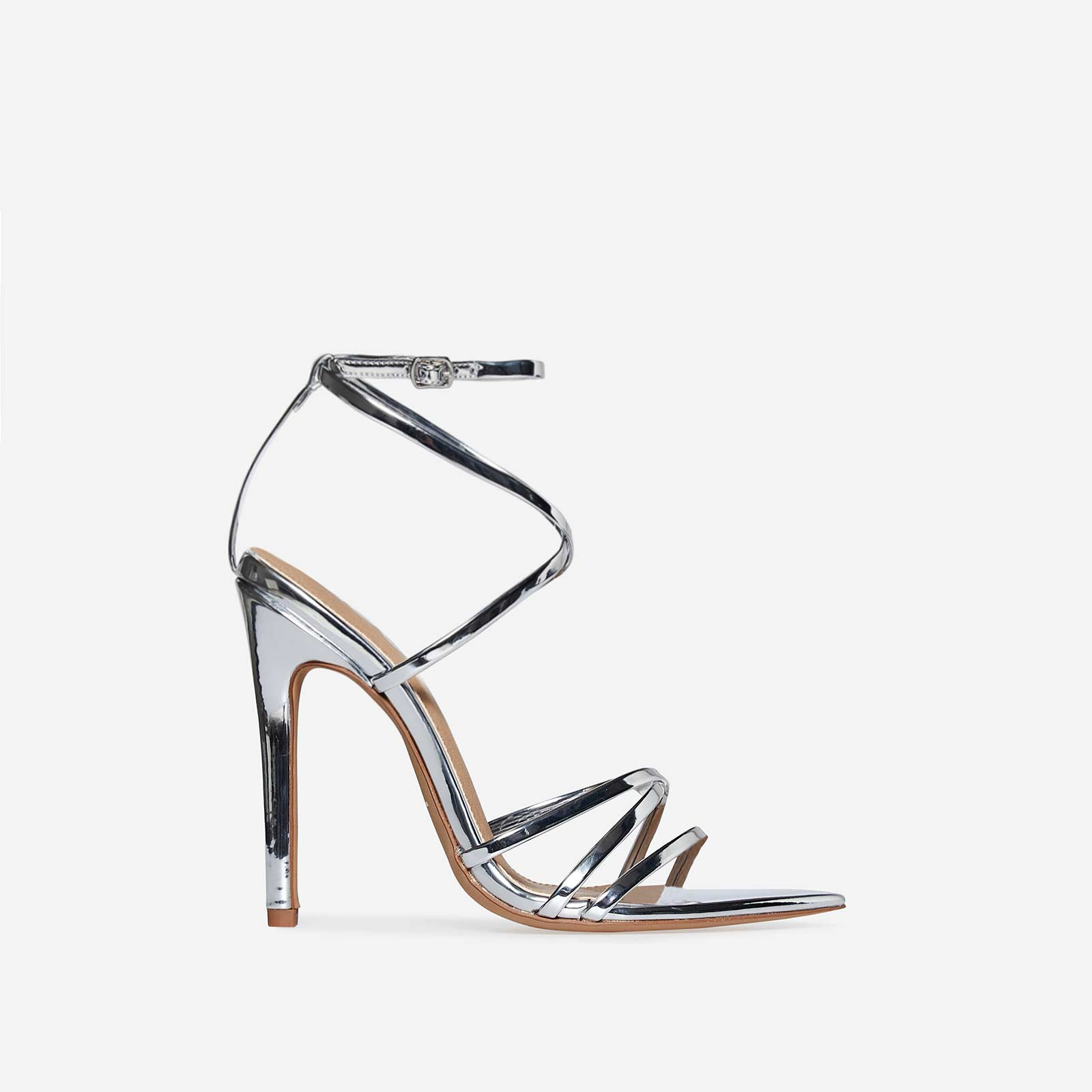 Kaia Pointed Barely There Heel In Silver Patent