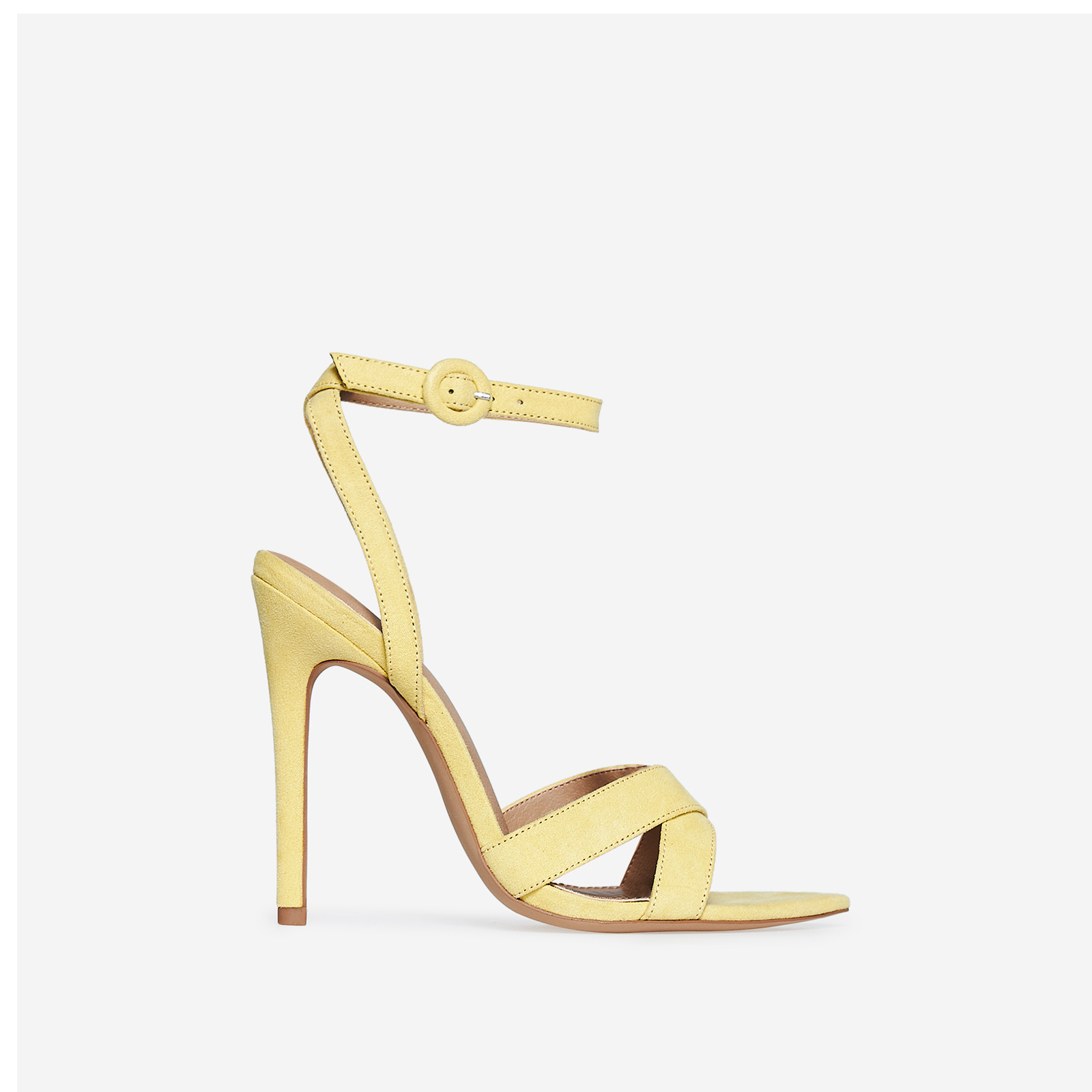 Marnie Pointed Barely There Heel In Yellow Faux Suede