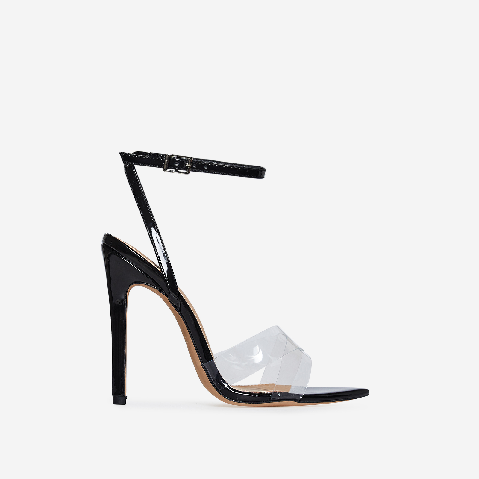 Celia Perspex Pointed Barely There Heel In Black Patent