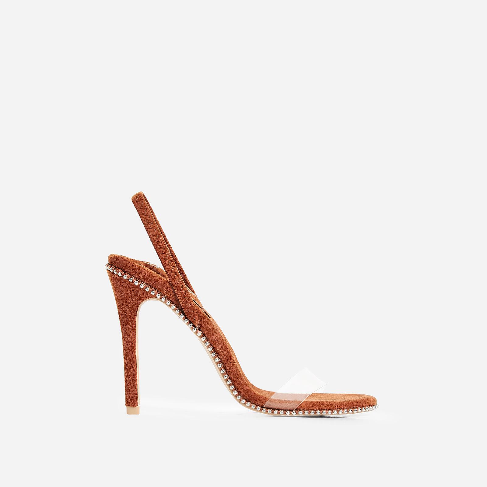 Sickening Studded Detail Perspex Heel In Tan Faux Suede