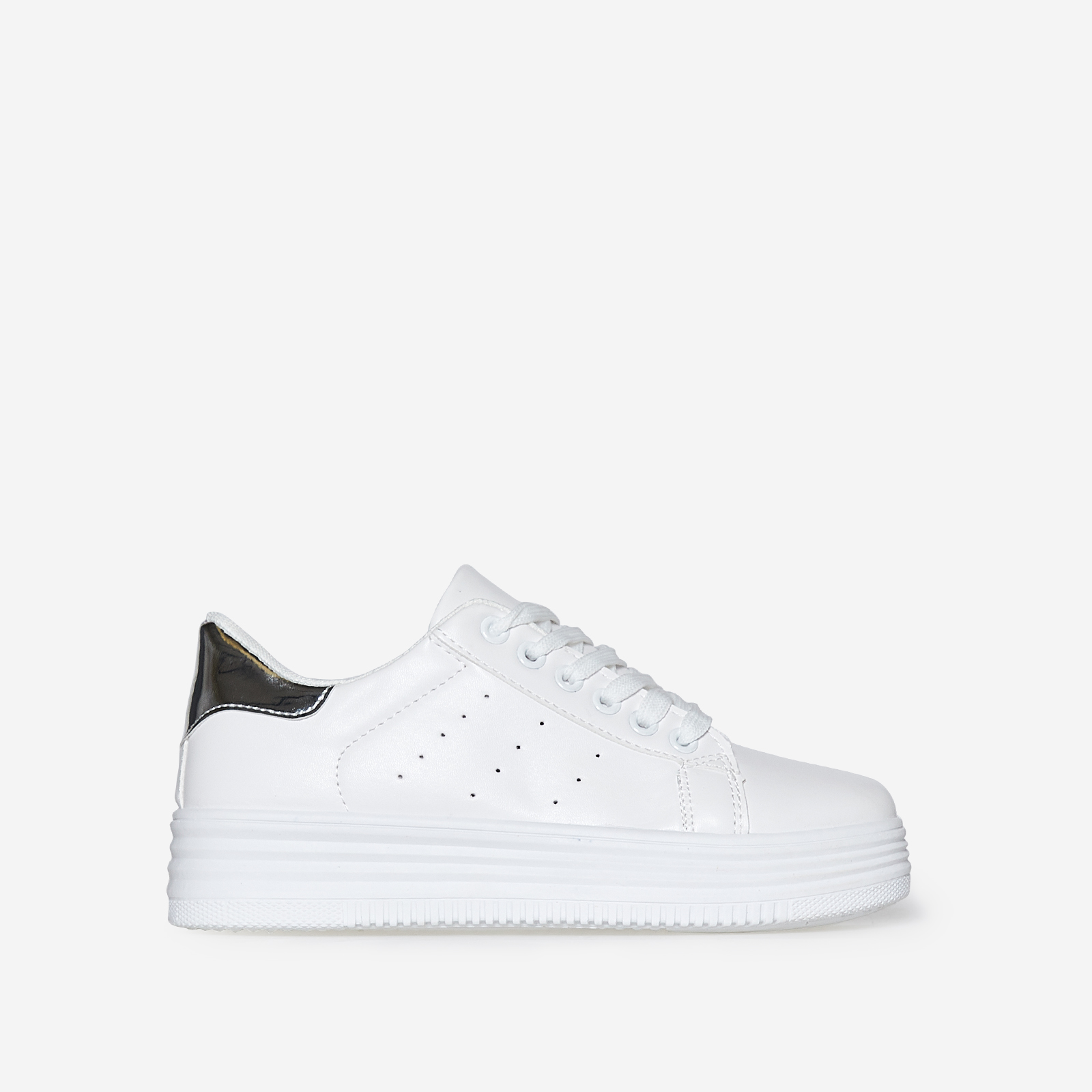 Horton Oversized Trainer With Silver Heel Tab In White Faux Leather