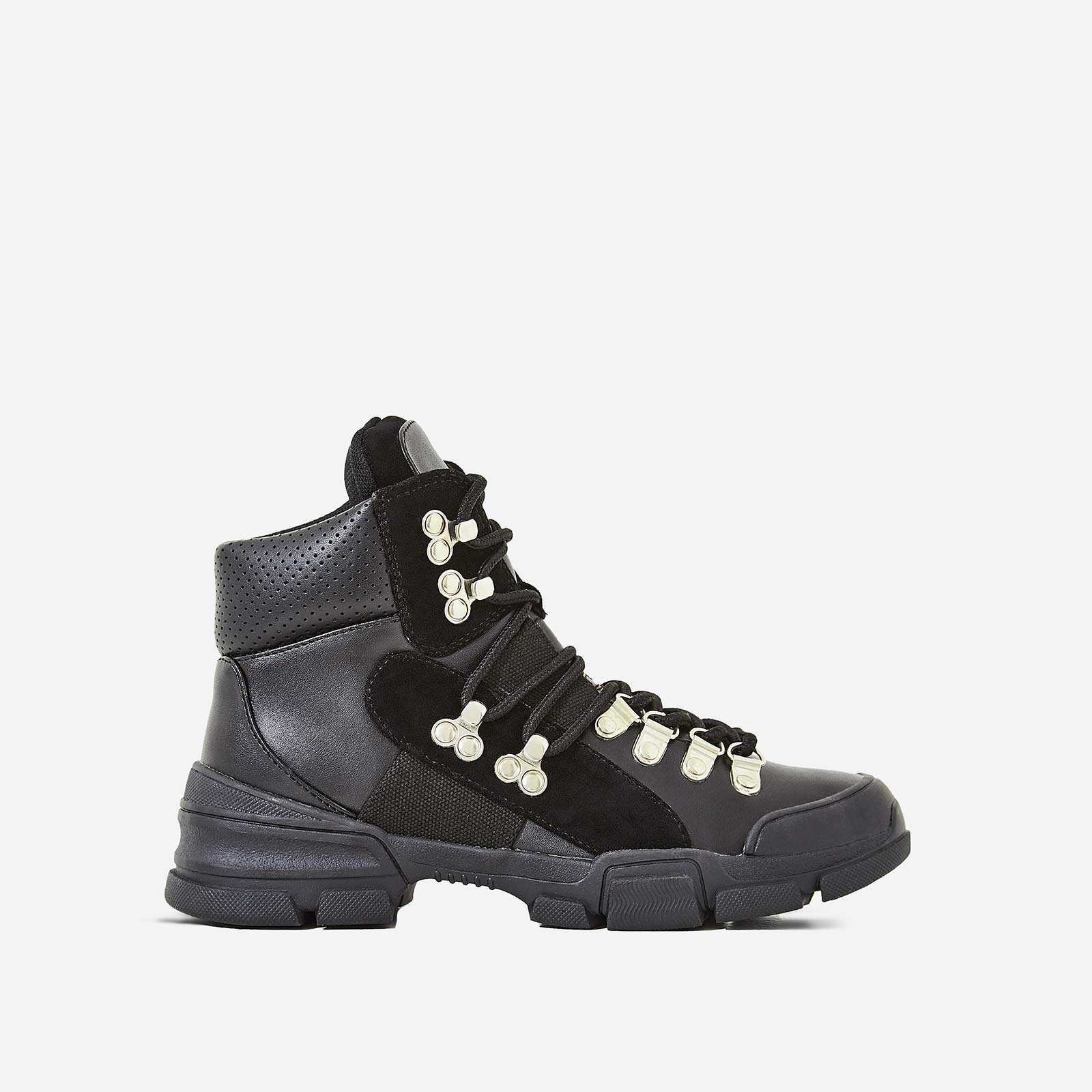 Laura Hiker High Top Trainer In Black Faux Leather