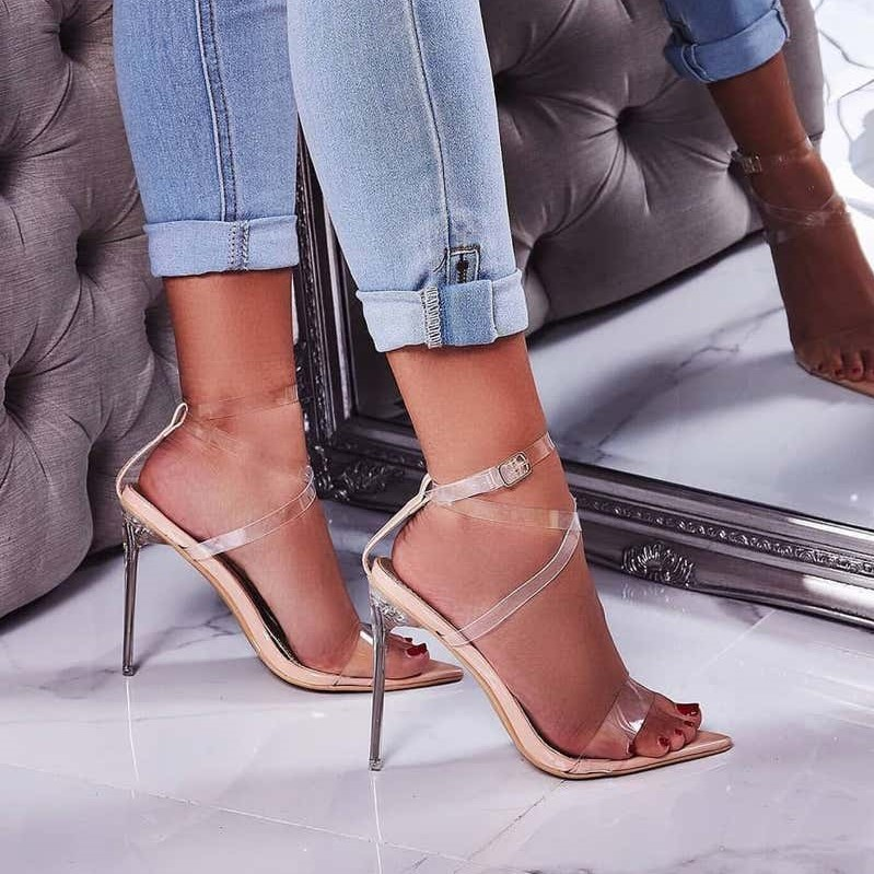 Skin Barely There Perspex Heel In Nude Patent