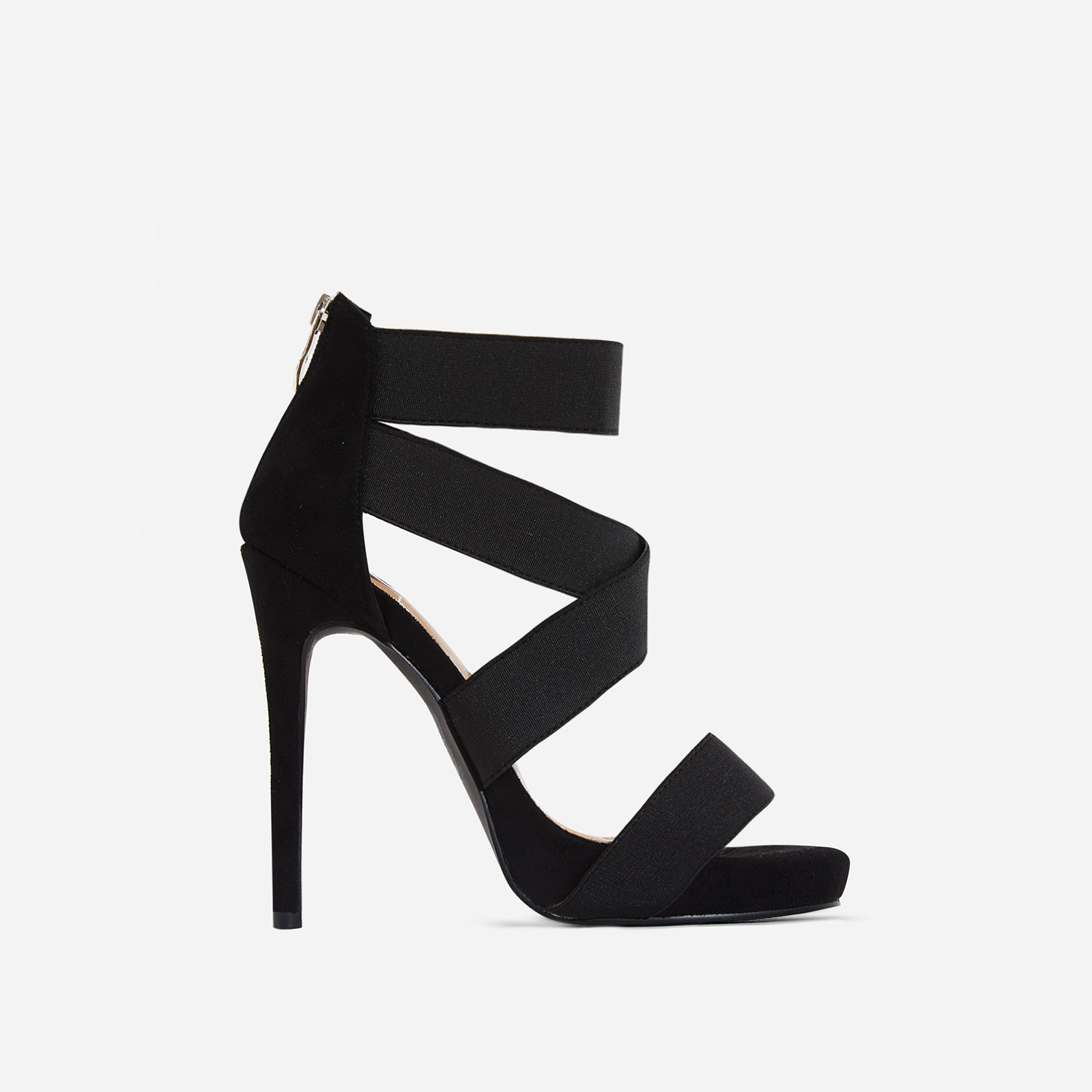 Skylar Elastic Cross Over Heel In Black Faux Suede