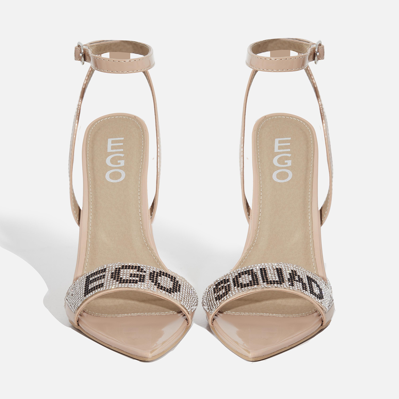 Smash Ego Squad Diamante Detail Heel In Nude Patent