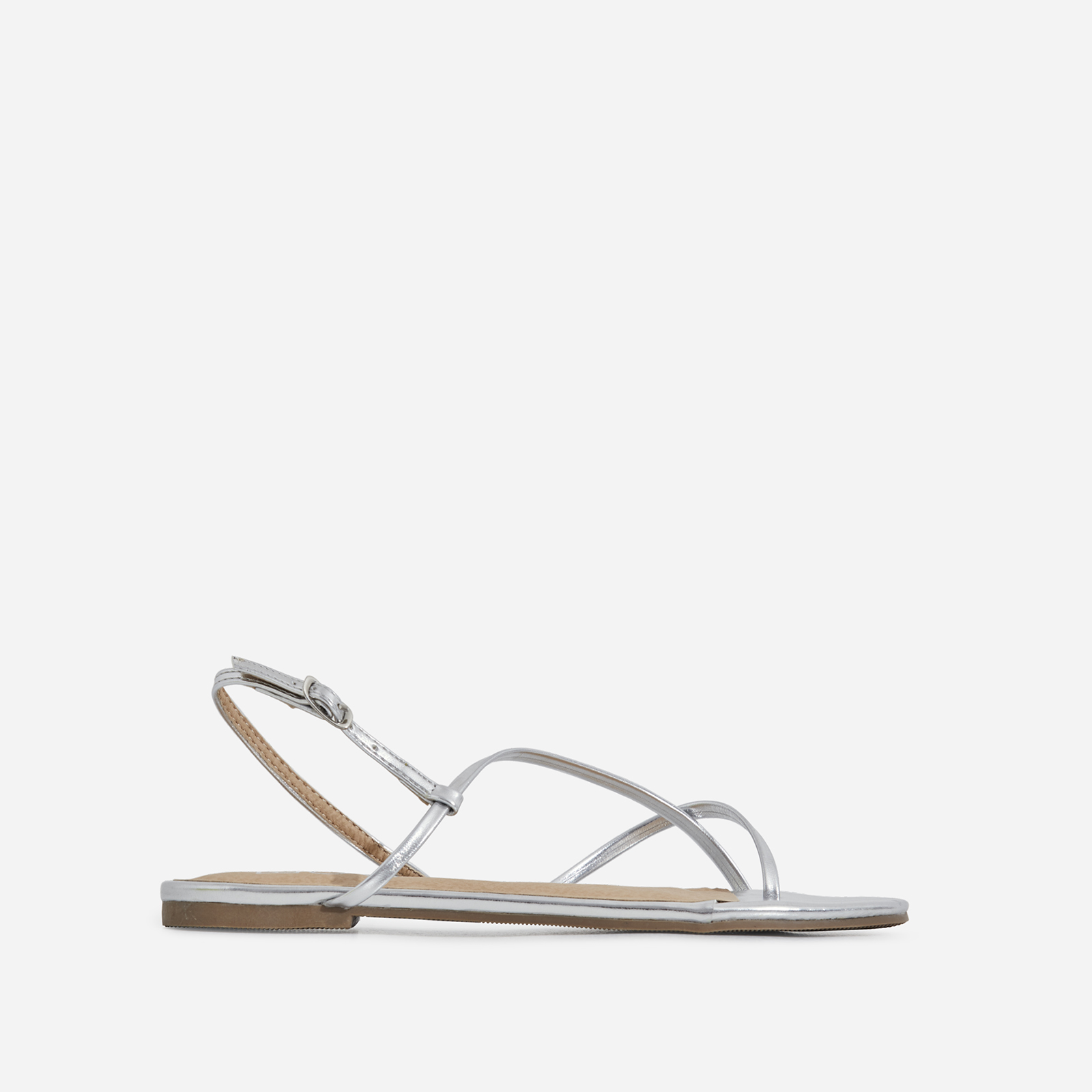Sofie Toe Strap Sandal In Silver Faux Leather