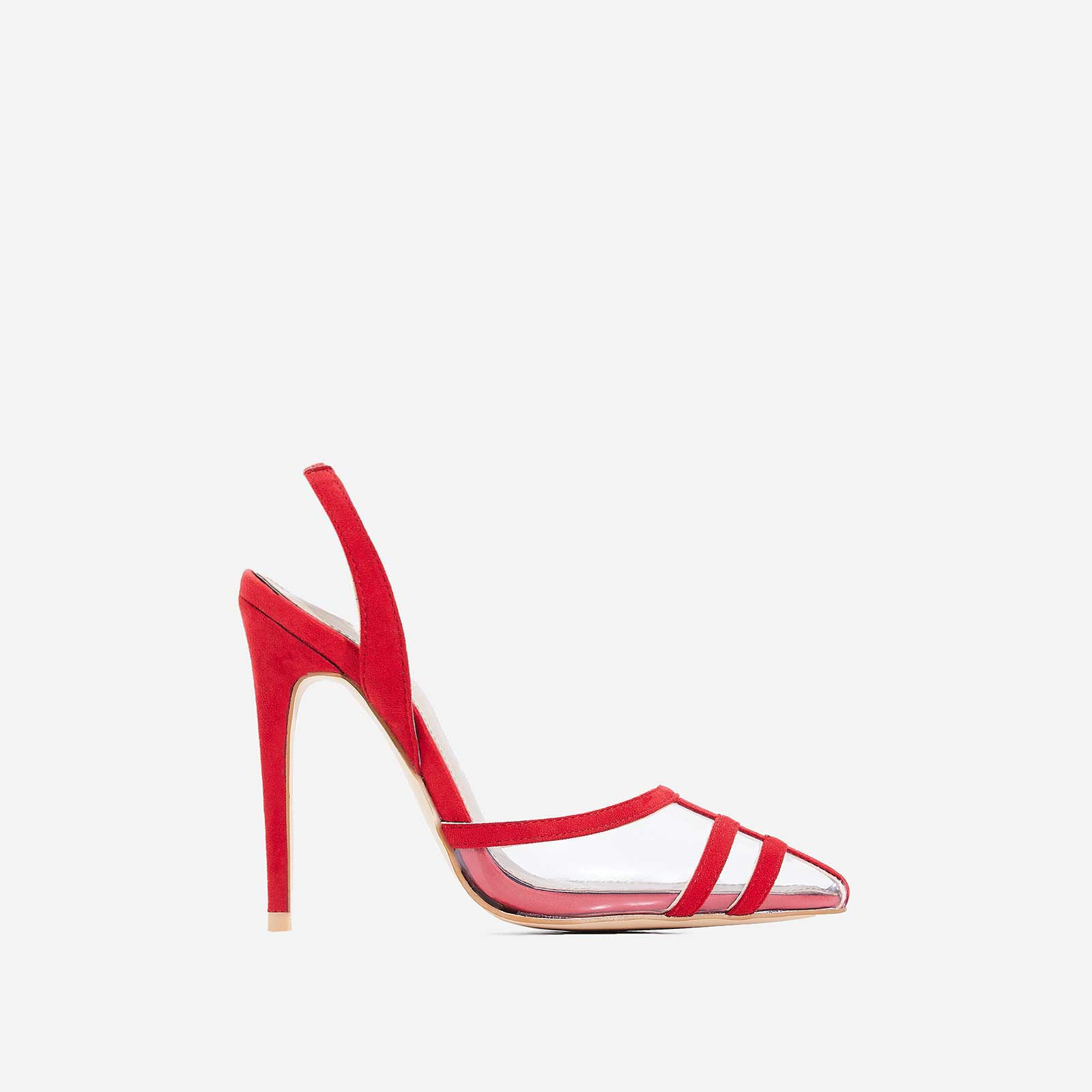 Sophie Slip Back Perspex Heel In Red Faux Suede