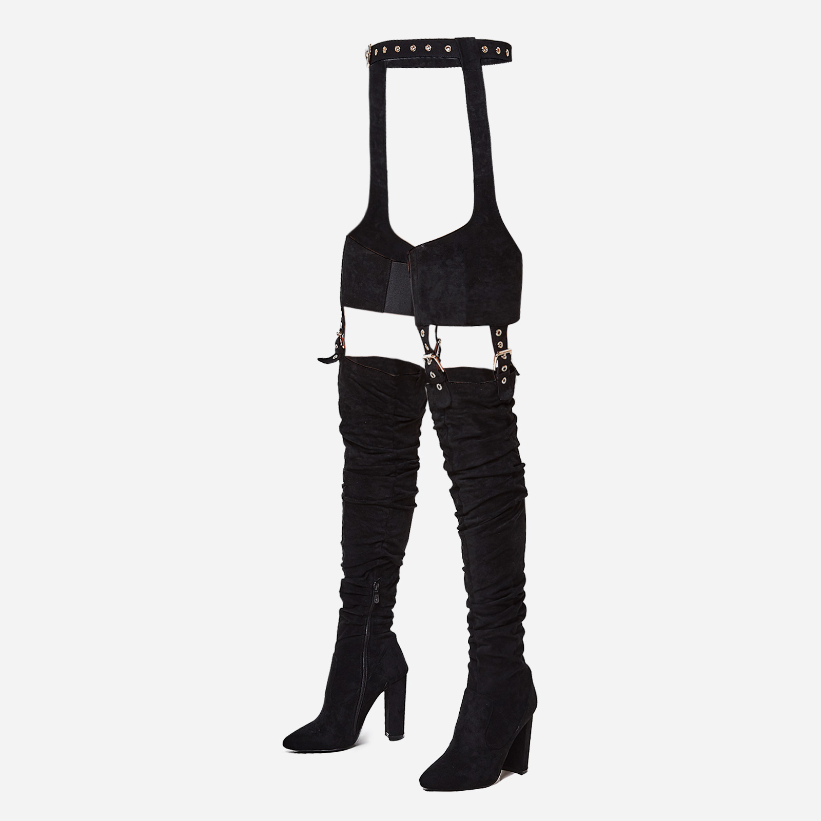 Southloop Belted Over The Knee Long Boot In Black Faux Suede