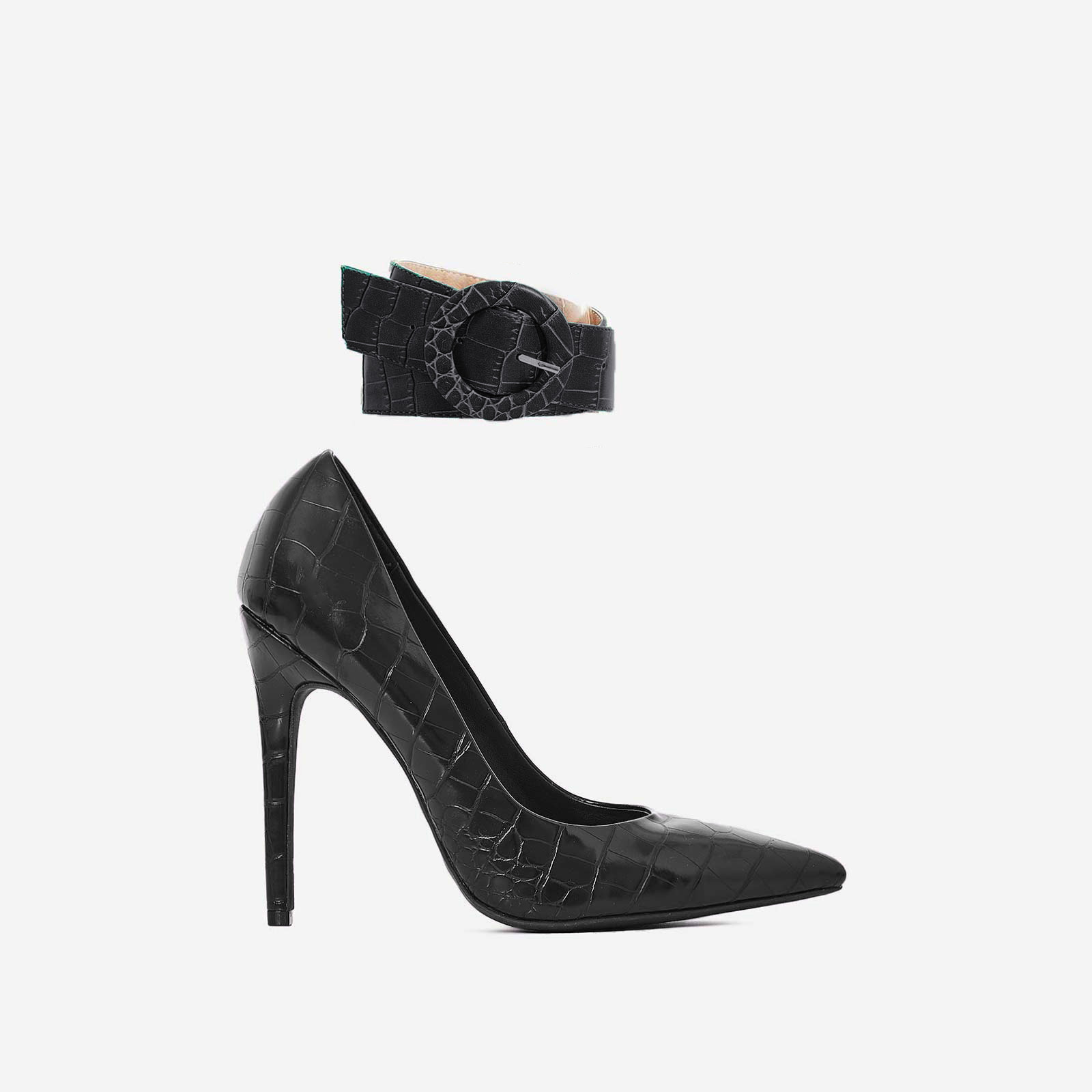 Stefano Ankle Strap Court Heel In Black Croc Print Faux Leather