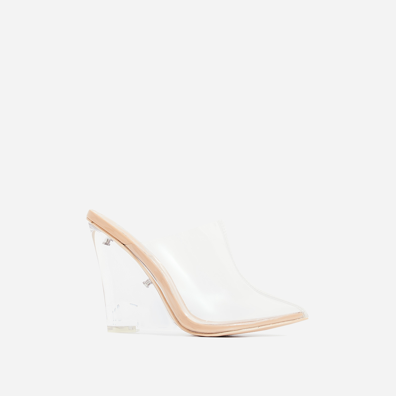 Sugar Perspex Wedge Heel Mule In Nude Patent