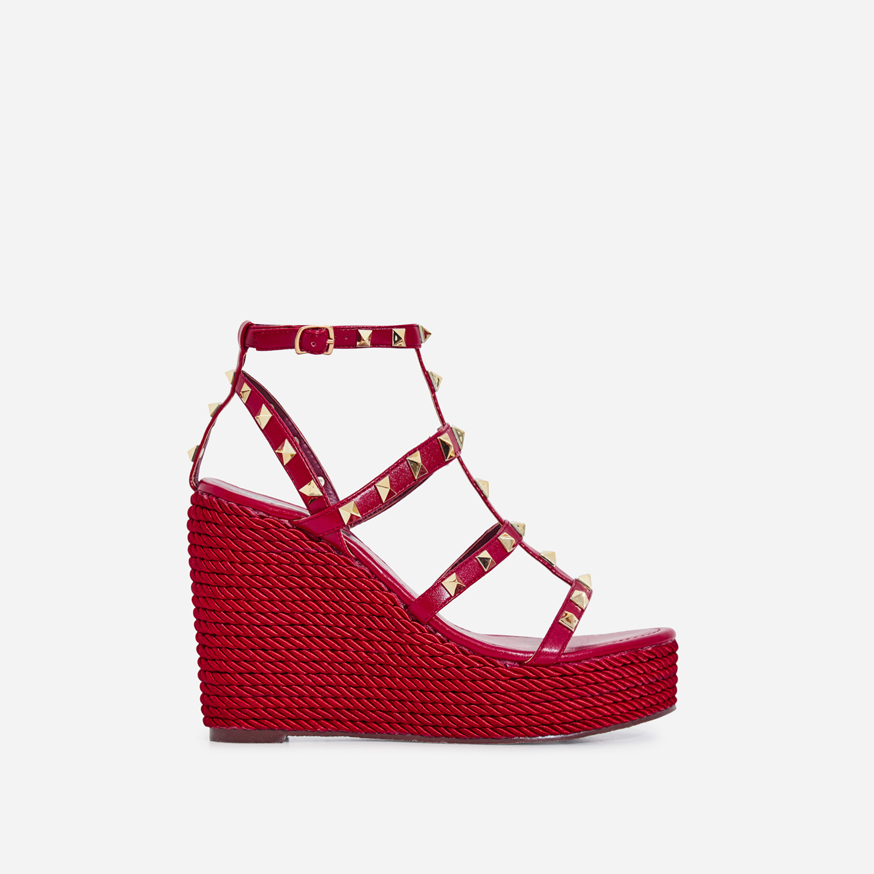 Summer Studded Detail Espadrille Wedge Platform Heel In Red Faux Leather