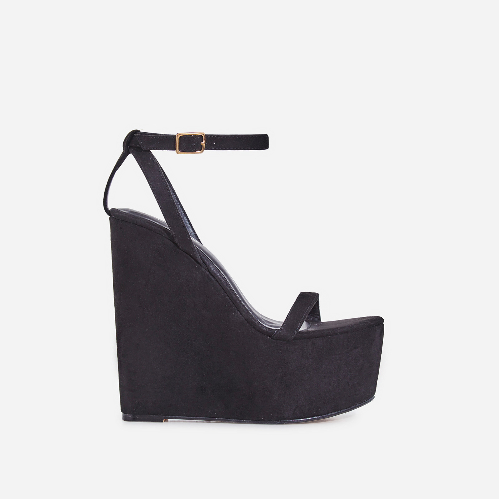 Sunlight Wedge Platform Heel In Black Faux Suede