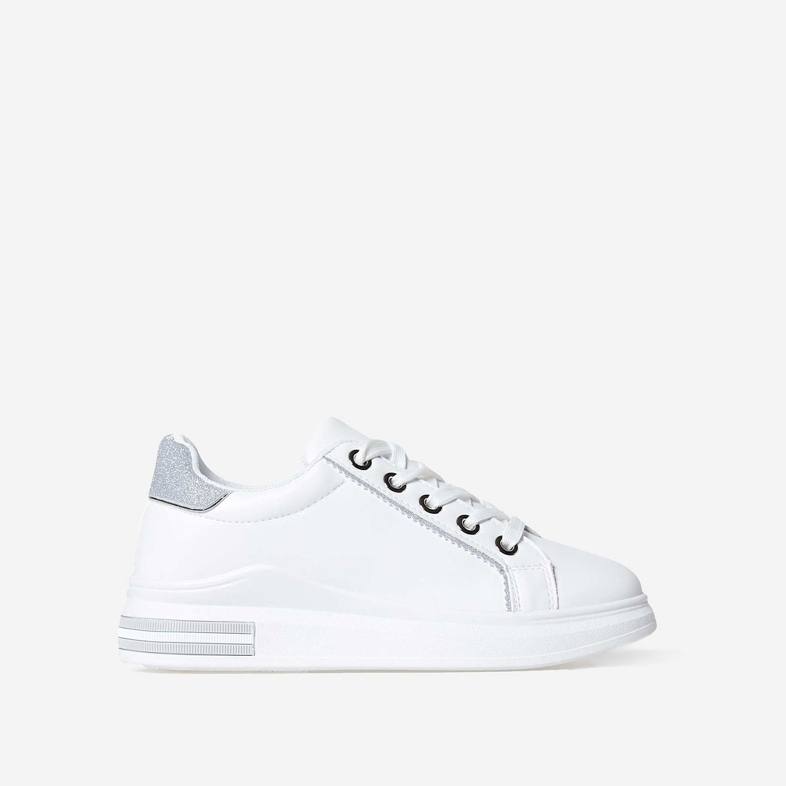 Domanique Glitter Heel Tab Trainer In White Faux Leather