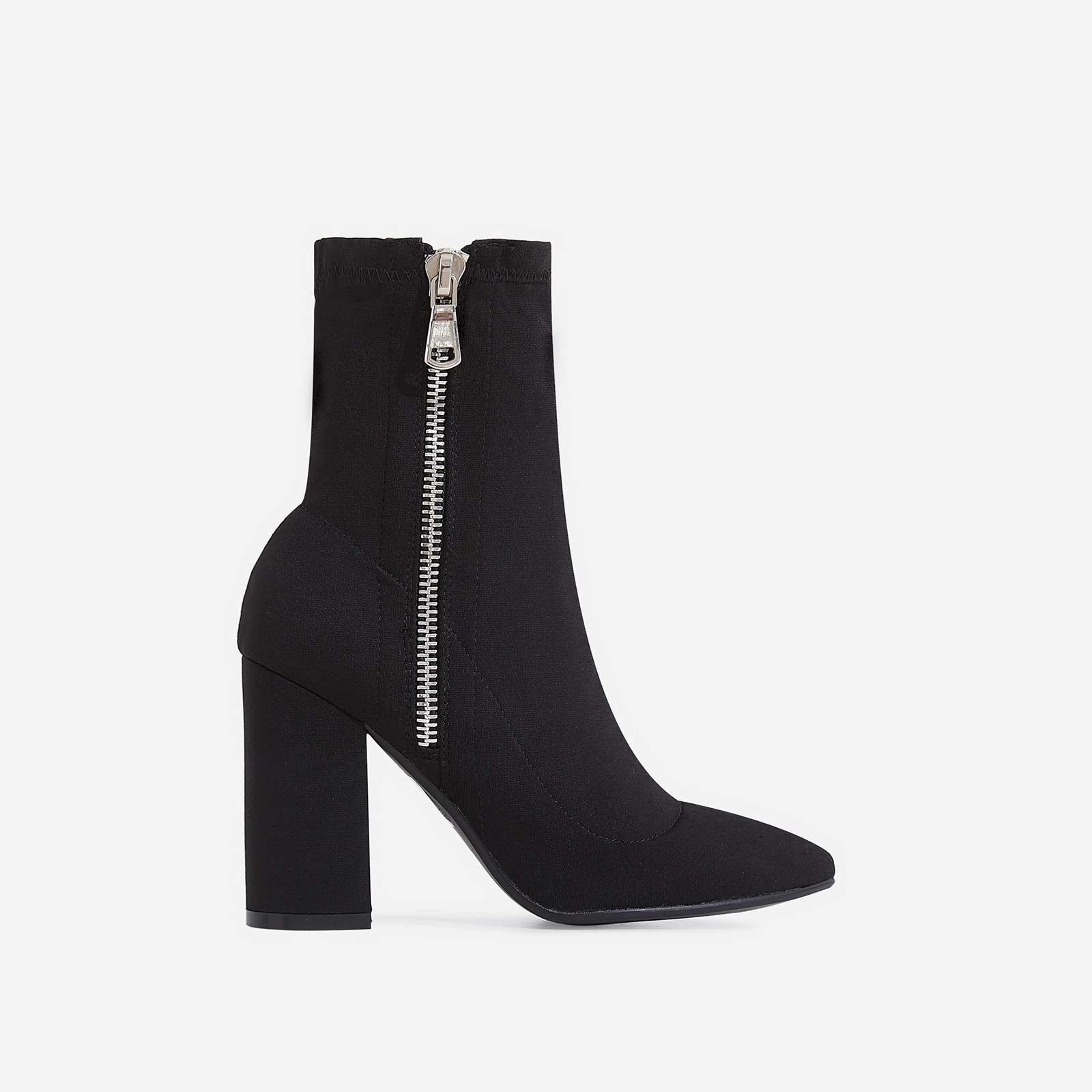 Tana Block Heel Sock Boot In Black Lycra