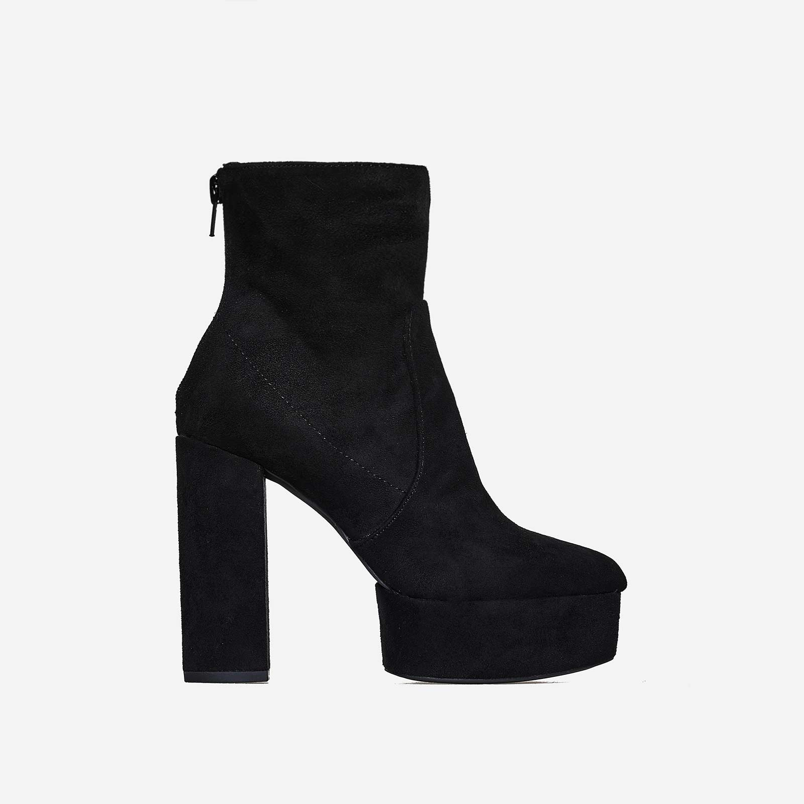Temper Platform Ankle Boot In Black Faux Suede