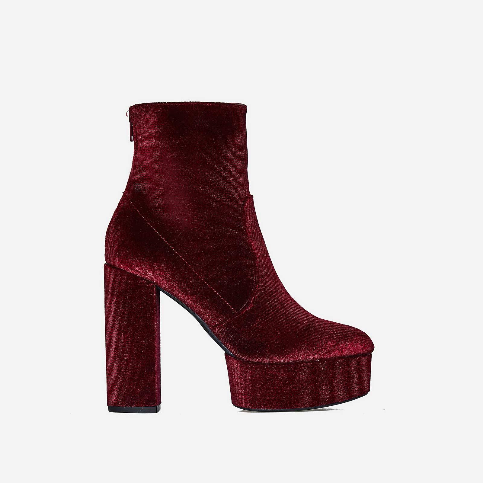 Temper Platform Ankle Boot In Maroon Velvet