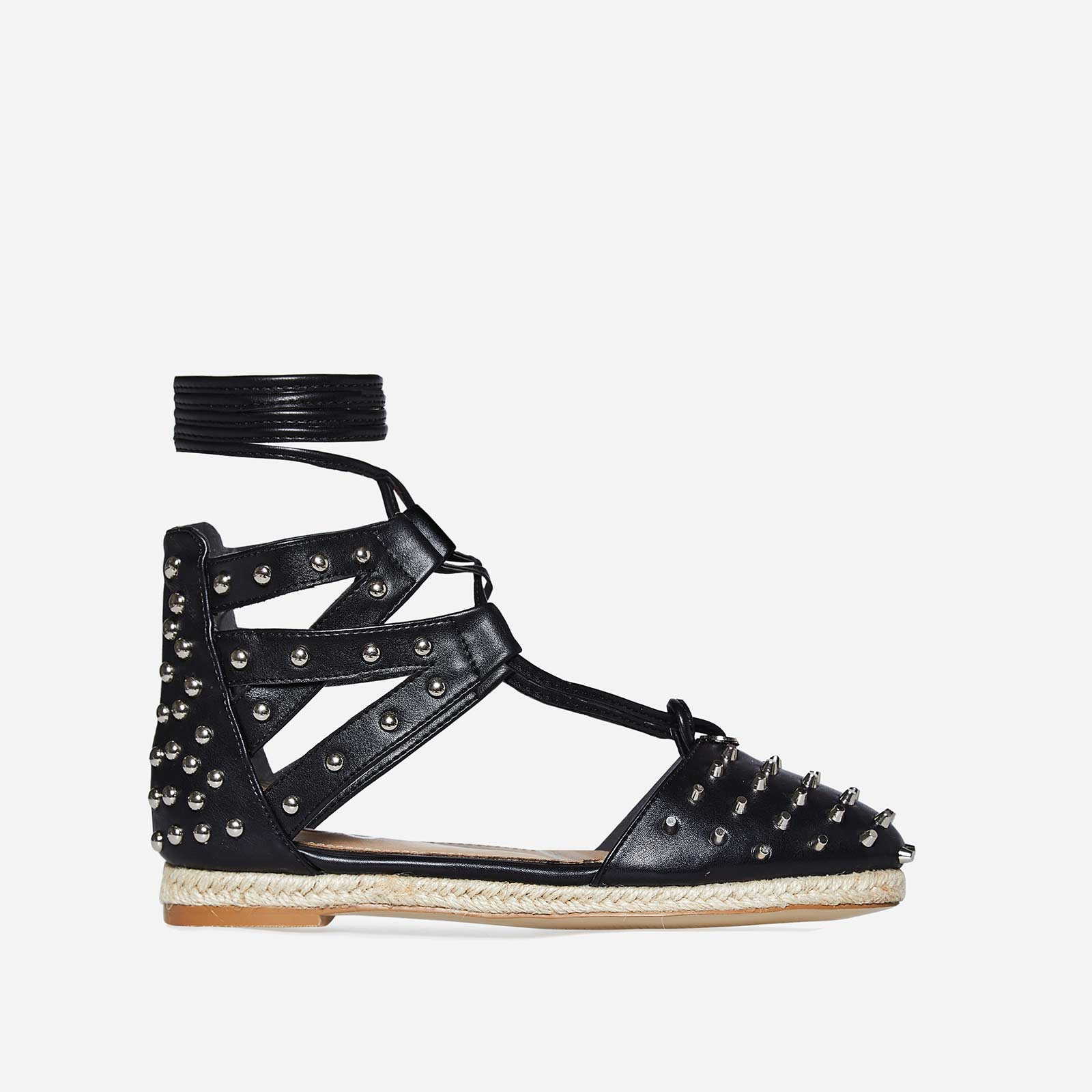 Russo Studded Detail Espadrille In Black Faux Leather