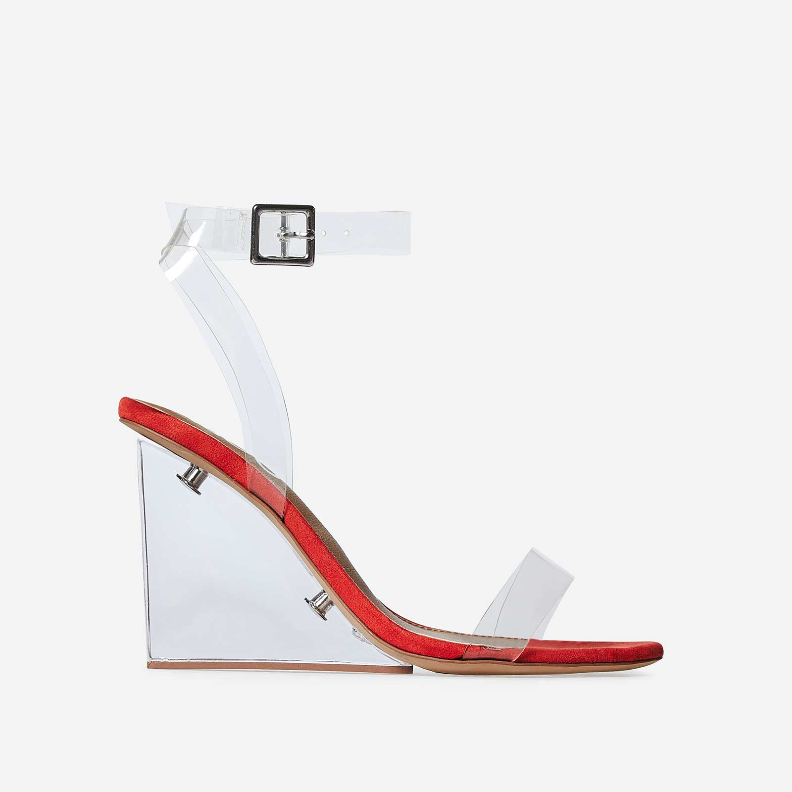 Thea Perspex Wedge Heel In Red Faux Suede