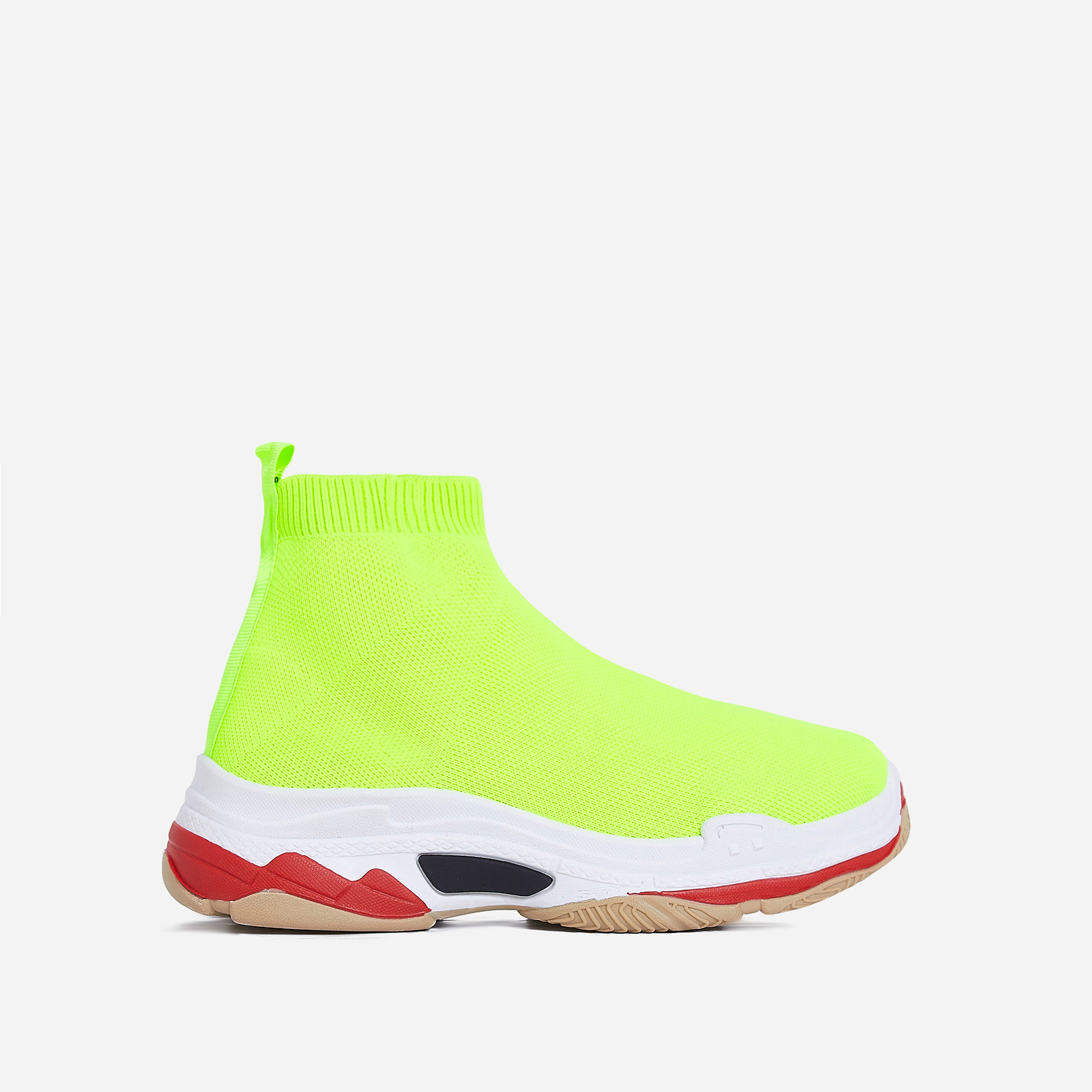 Tidal Chunky Sole Train In Neon Yellow Knit