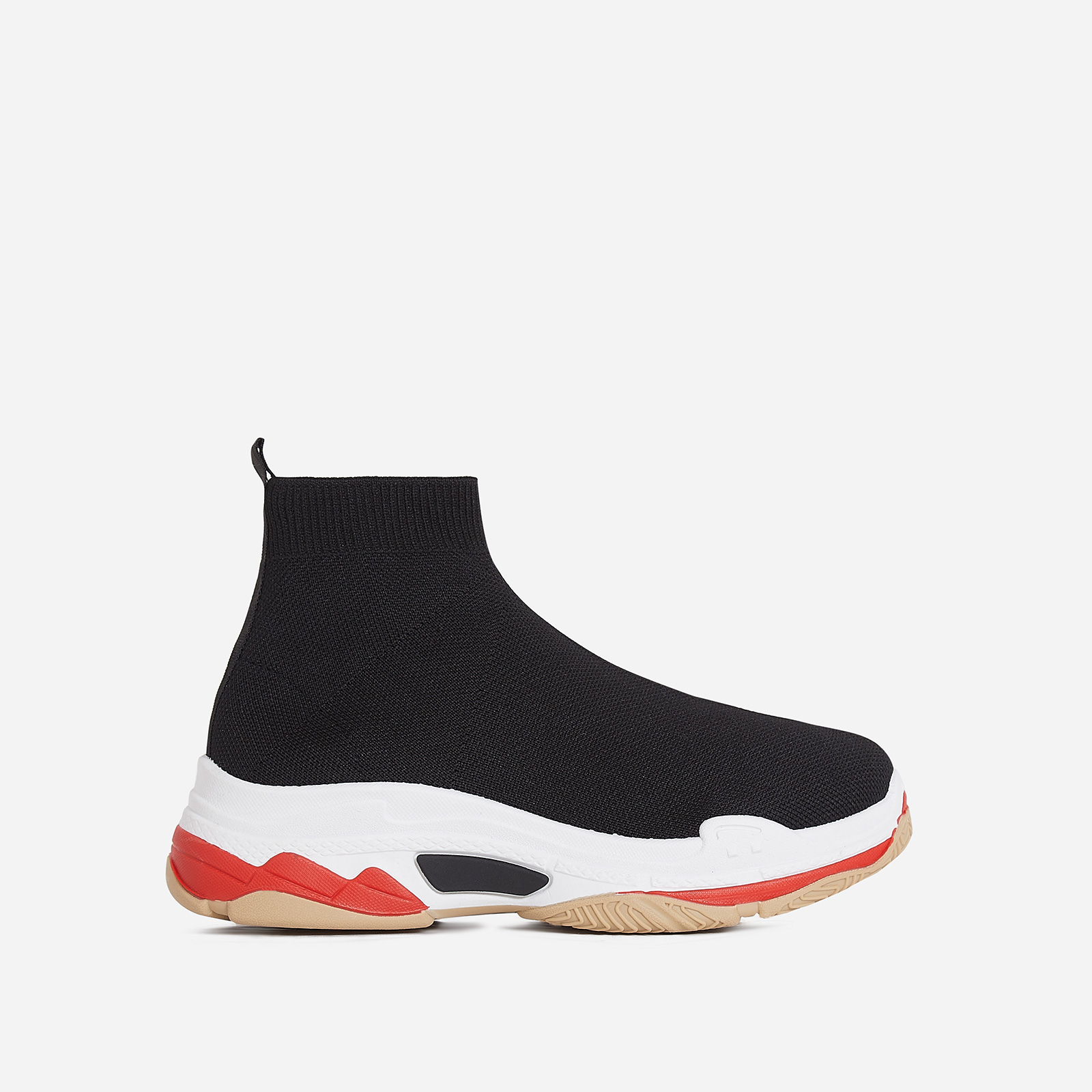 Tidal Chunky Sole Trainer In Black Knit