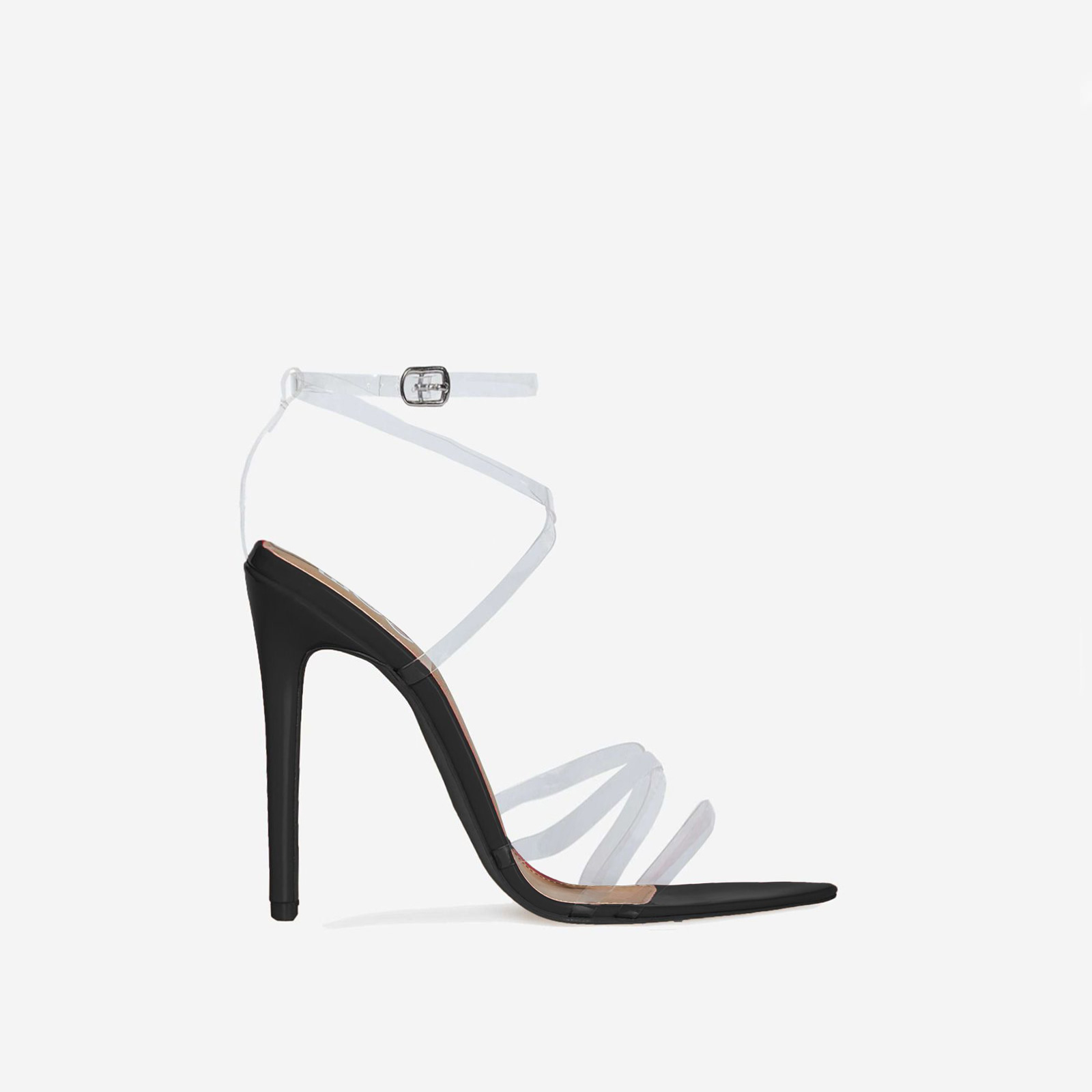 Tiffany Pointed Perspex Barely There Heel In Black Patent