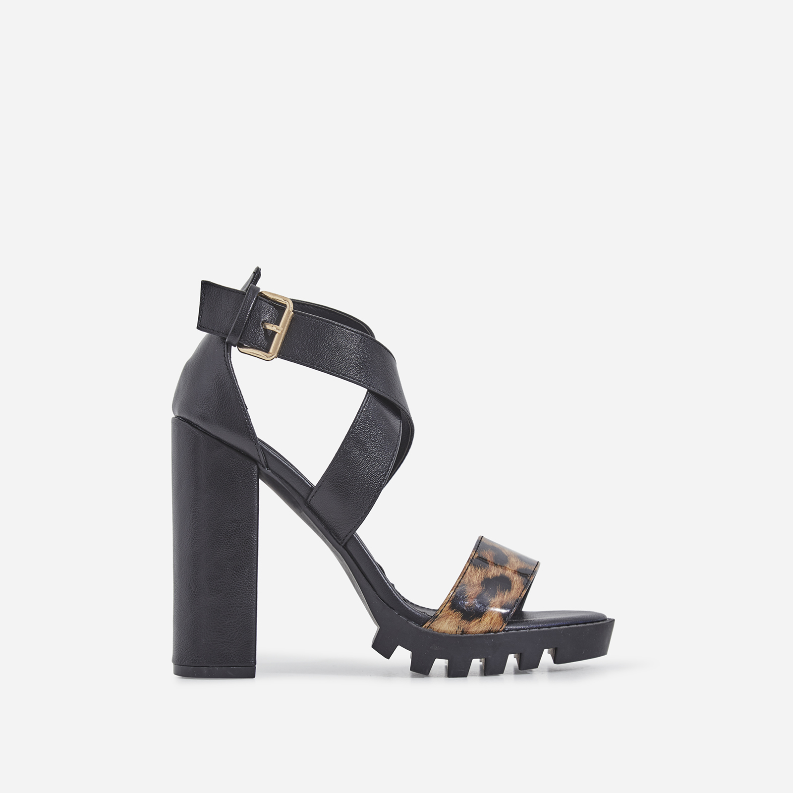 Tori Cleated Sole Leopard Print Detail Block Heel In Black Faux Leather