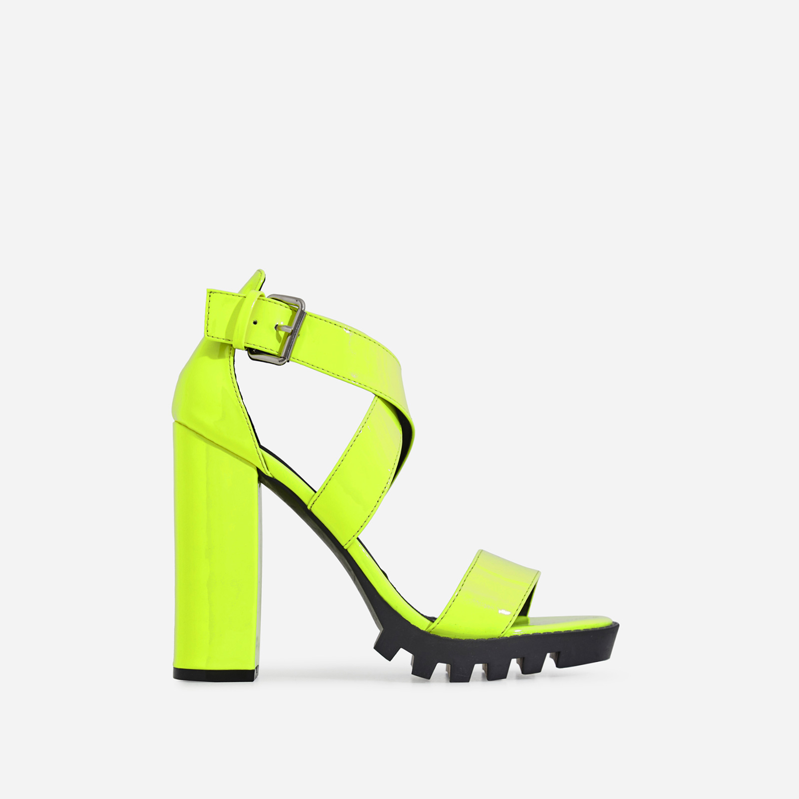 Tori Cleated Sole Block Heel In Lime Green Patent