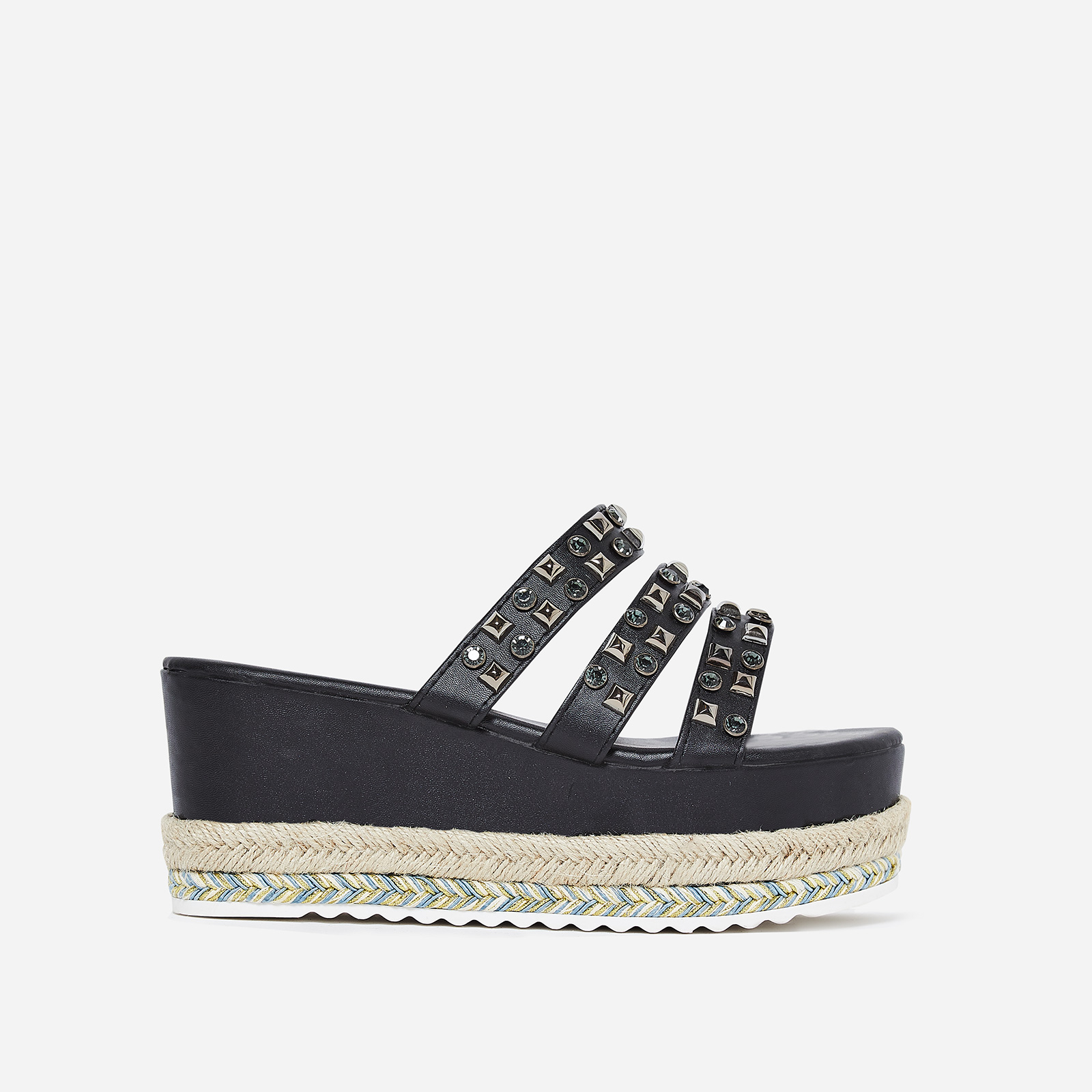 Dahlia Studded Detail Flatform Espadrille Slider In Black Faux Leather