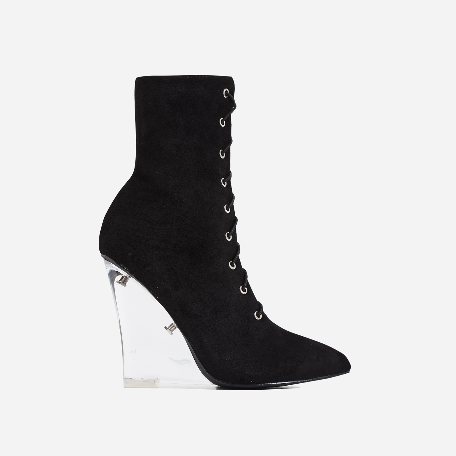 Turnaround Perspex Wedge Lace Up Ankle Boot In Black Faux Suede