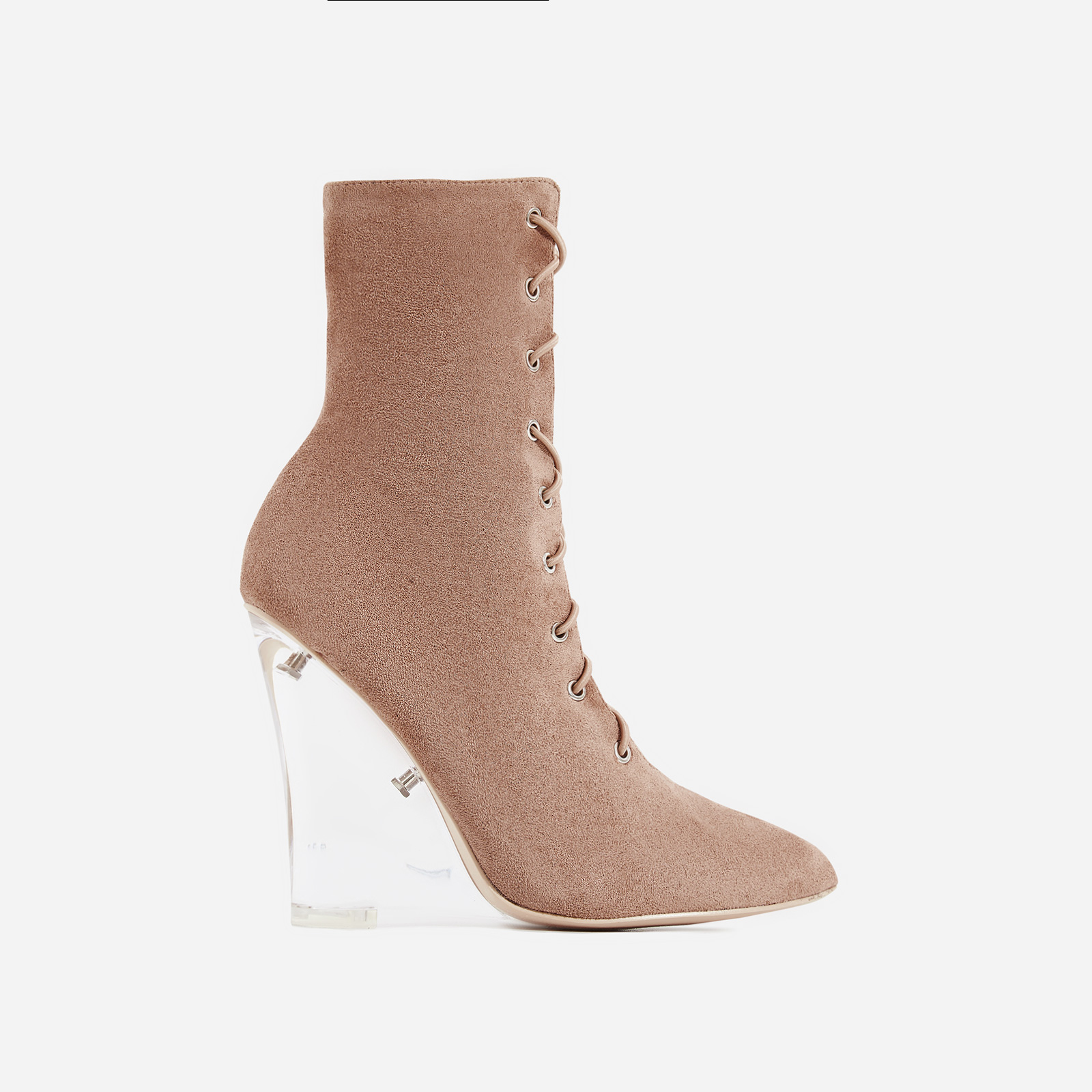 Turnaround Perspex Wedge Lace Up Ankle Boot In Nude Faux Suede