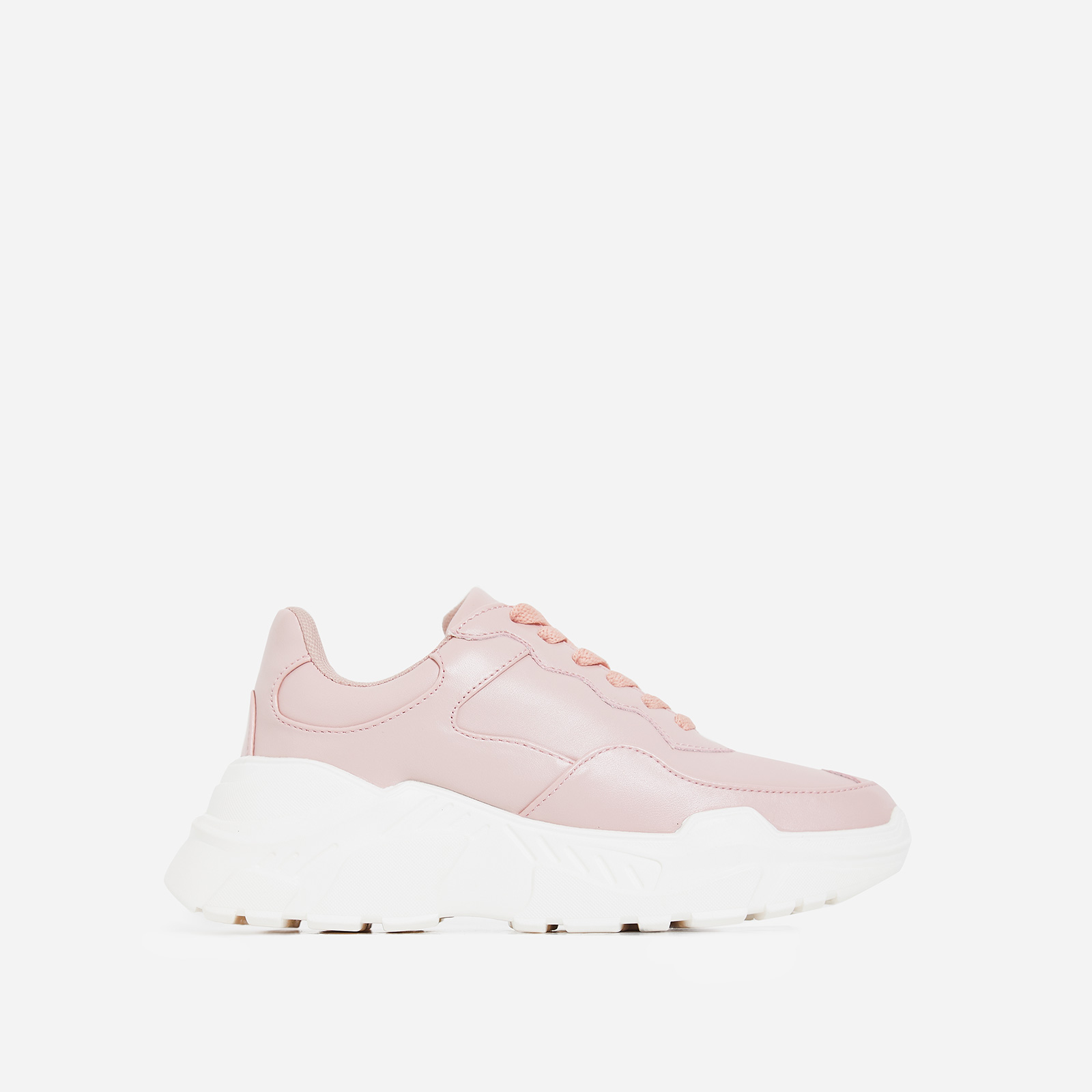 Twinky Chunky Sole Trainer In Blush Faux Leather