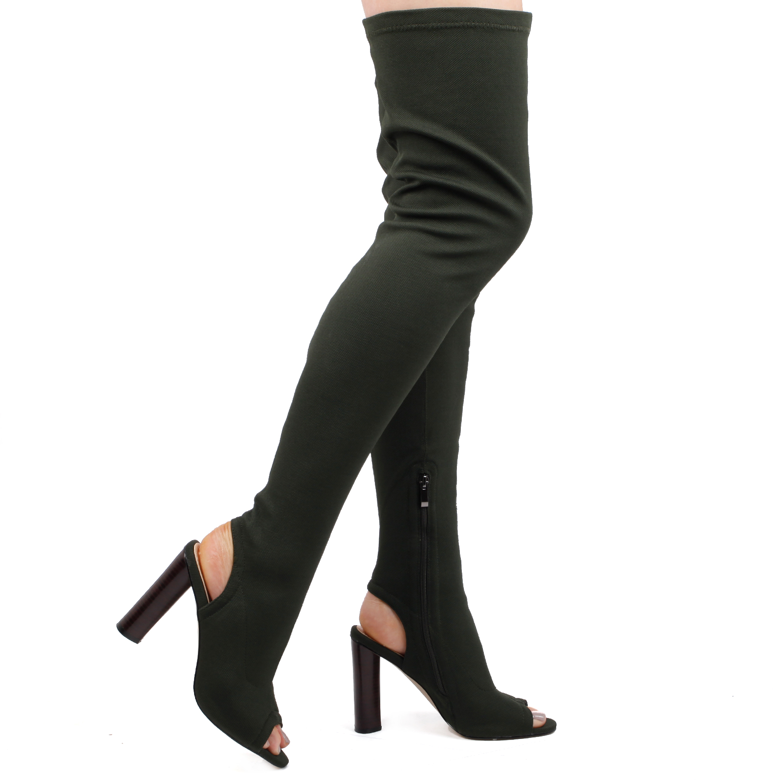 Rivea Cut Out Heel, Open Toe Thigh High Boots In Khaki Knit Image 1