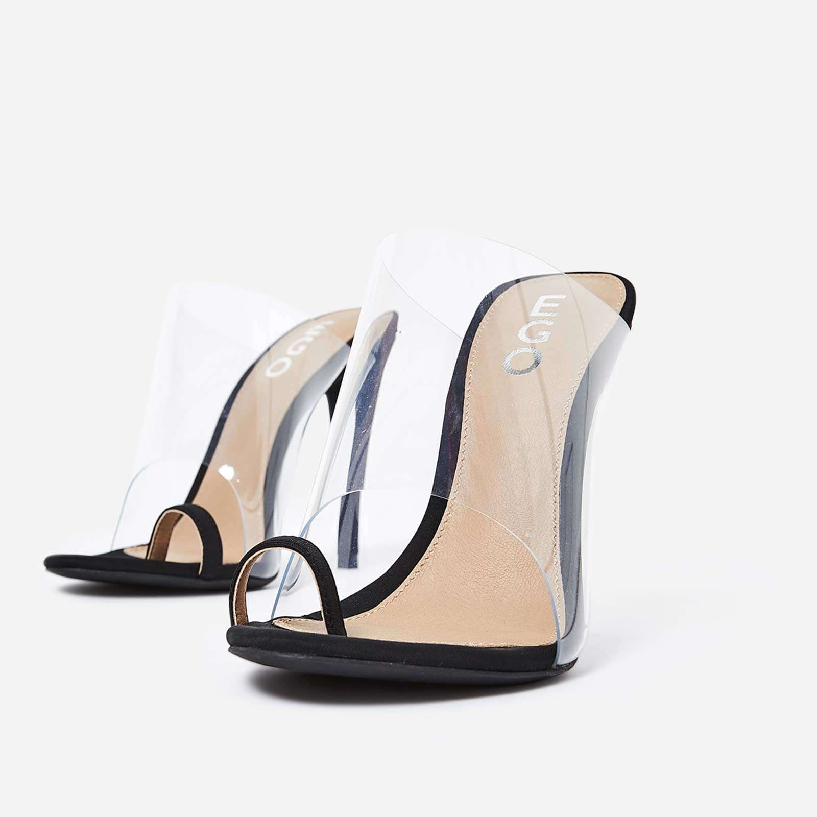 Shape Toe Strap Perspex Mule In Black Lycra