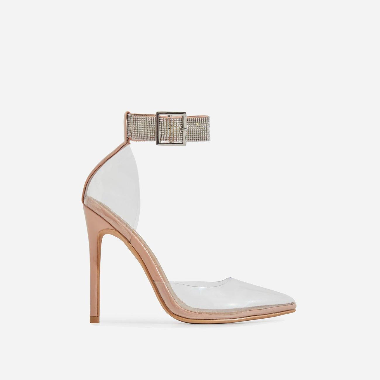 VIP Diamante Detail Strap Perspex Heel In Nude Patent