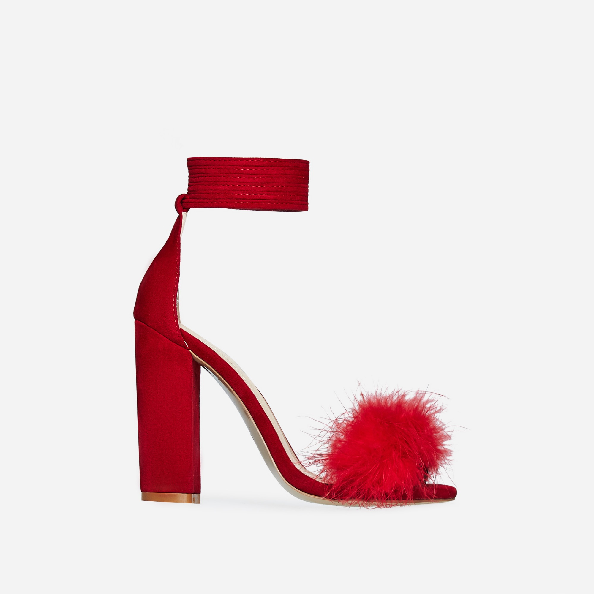 Vision Lace Up Fluffy Heel In Red Faux Suede