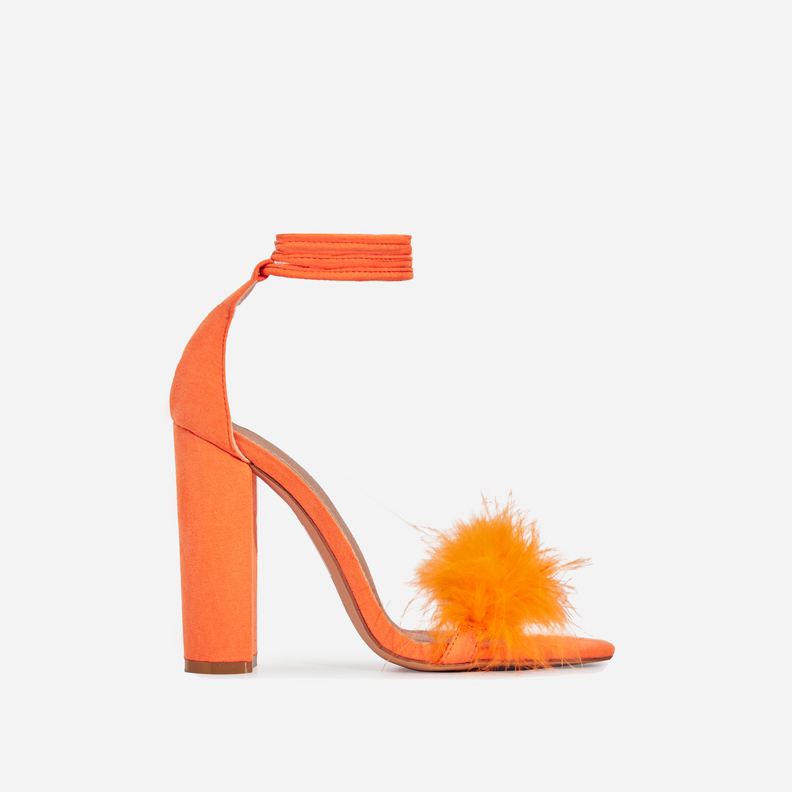 Vision Lace Up Fluffy Heel In Orange Faux Suede