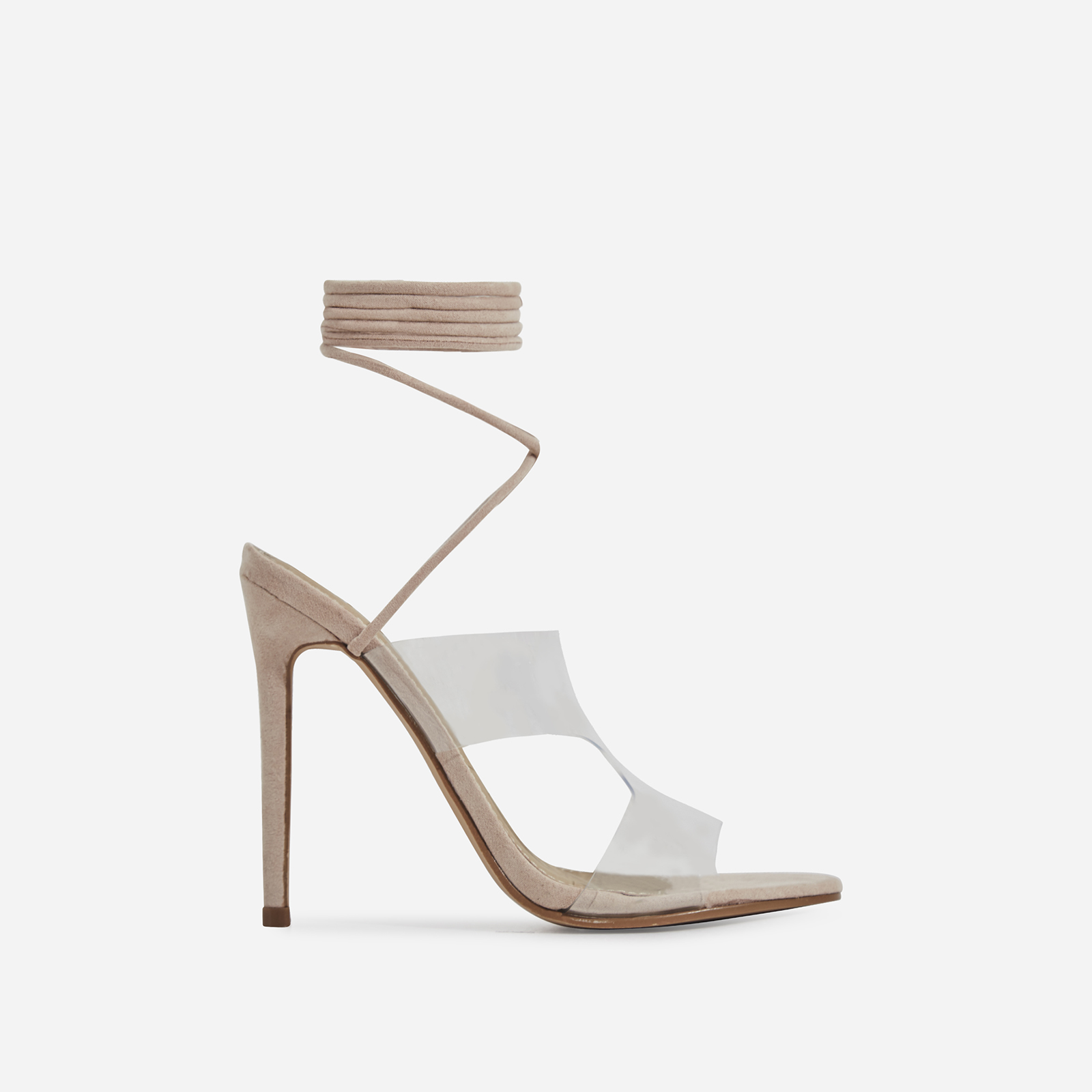 Vivica Lace Up Perspex Heel In Nude Faux Suede