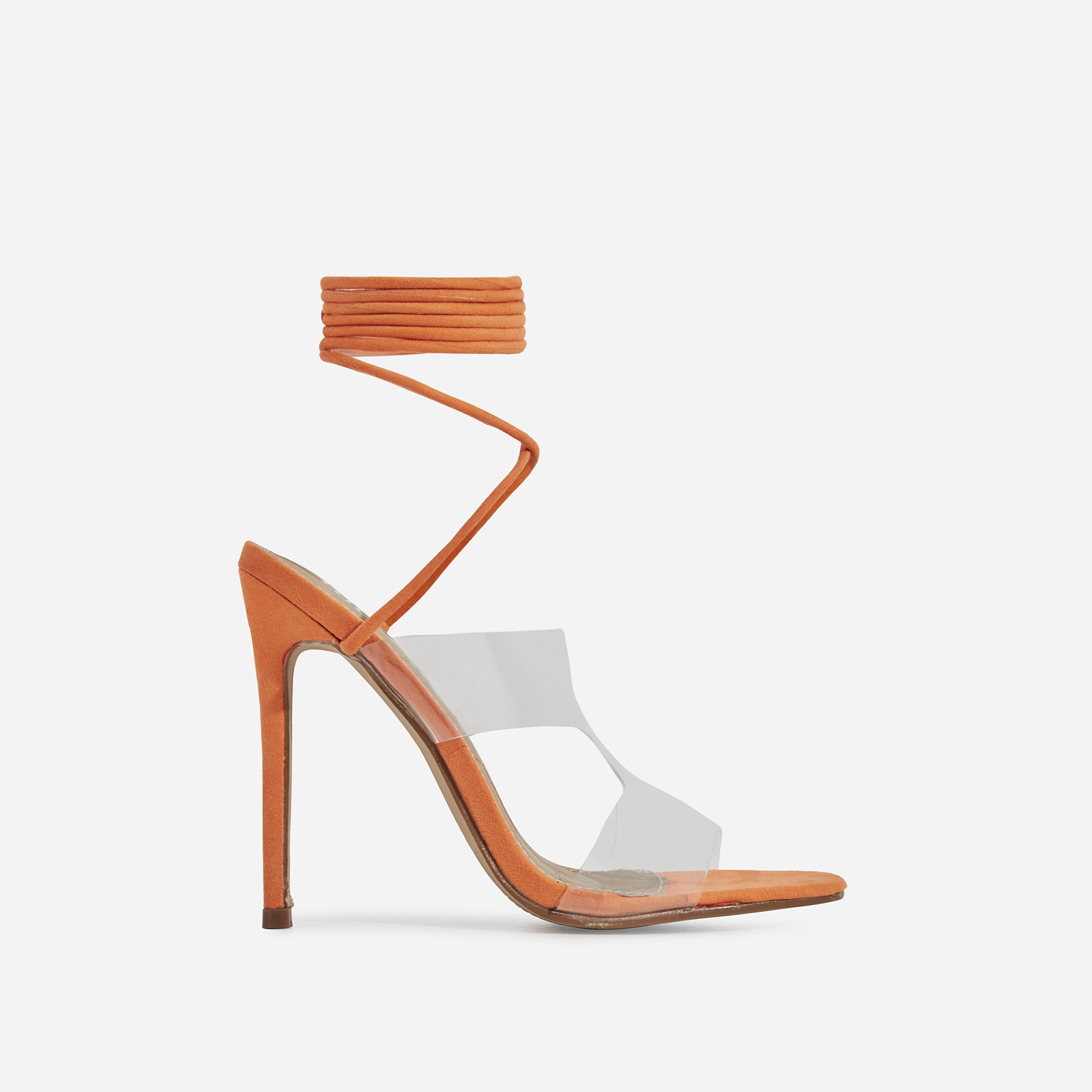 Vivica Lace Up Perspex Heel In Orange Faux Suede