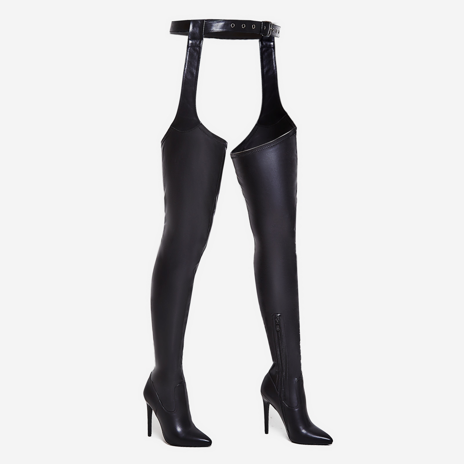 Westloop Belted Over The Knee Long Boot In Black Faux Leather